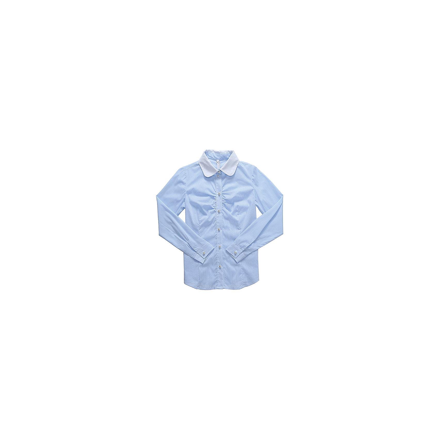 Блузка для девочки LuminosoБлузки и рубашки<br>Характеристики товара:<br><br>• цвет: голубой<br>• состав ткани: 69% хлопок, 28% нейлон, 3% эластан<br>• с длинным рукавом<br>• застежка: пуговицы<br>• манжеты на пуговице<br>• особенности: школьная, в мелкую полоску<br>• страна бренда: Россия<br>• страна производства: Китай<br><br>Школьная блузка с длинным рукавом для девочки. Классическая блузка для девочки в микрополоску бело-голубого цвета. Приталенный крой, контрастный отложной воротничок белого цвета. Декоративная, мягкая сборка на планке. Застегивается на пуговки, манжеты рукавов на одной пуговице. Пуговки в виде жемчуга.<br><br>Блузка для девочки Luminoso (Люминосо) можно купить в нашем интернет-магазине.<br><br>Ширина мм: 186<br>Глубина мм: 87<br>Высота мм: 198<br>Вес г: 197<br>Цвет: голубой<br>Возраст от месяцев: 156<br>Возраст до месяцев: 168<br>Пол: Женский<br>Возраст: Детский<br>Размер: 164,122,128,134,140,146,152,158<br>SKU: 6672119