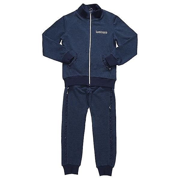 Спортивный костюм для девочки LuminosoСпортивная форма<br>Характеристики товара:<br><br>• цвет: синий<br>• состав: 95% хлопок, 5% эластан<br>• для занятий физкультурой/спортом<br>• застежка: молния<br>• брюки на резинке<br>• дополнительный шнурок на талии брюк<br>• эластичные манжеты на рукавах и внизу брючин<br>• страна бренда: Россия<br>• страна производства: Китай<br><br>Спортивный костюм для девочки из трикотажой ткани темно-синего цвета. Кофта с длинным рукавом и вороником стойкой дополнена двумя накладными карманами. Застегижка на молнии. Брюки с эластичным поясом дополнительно регулируется шнурком, штанины снизу собраны на мягкий манжет.<br><br>Спортивный костюм для девочки Luminoso (Люминосо) можно купить в нашем интернет-магазине.<br><br>Ширина мм: 247<br>Глубина мм: 16<br>Высота мм: 140<br>Вес г: 225<br>Цвет: синий<br>Возраст от месяцев: 72<br>Возраст до месяцев: 84<br>Пол: Женский<br>Возраст: Детский<br>Размер: 122,164,158,152,146,140,134,128<br>SKU: 6672146