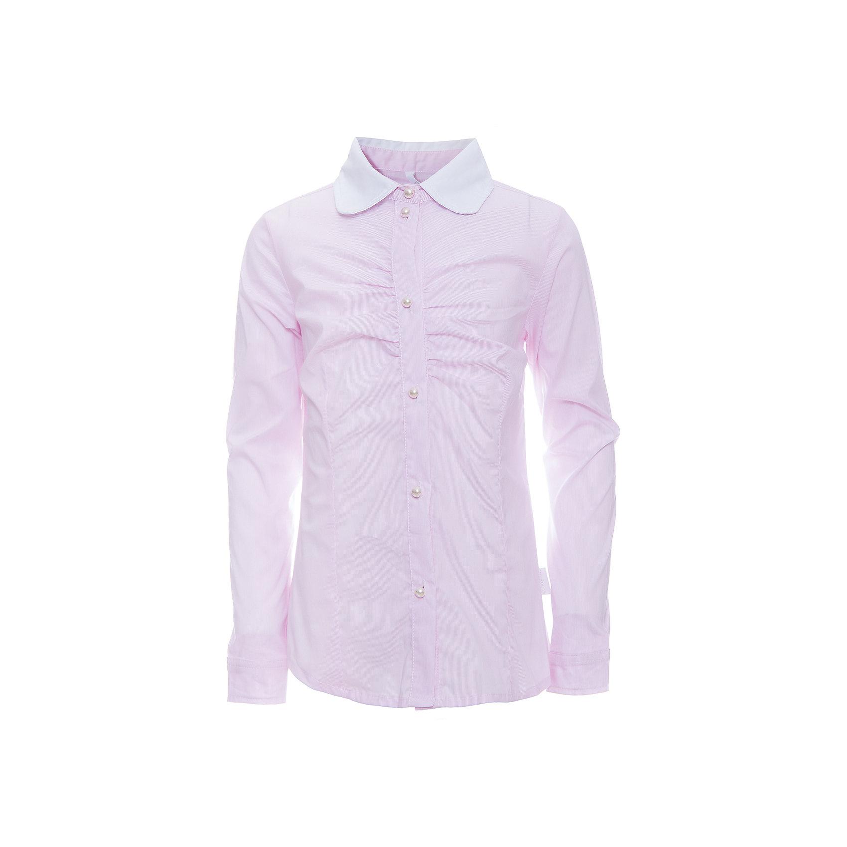Блузка для девочки LuminosoБлузки и рубашки<br>Характеристики товара:<br><br>• цвет: розовый<br>• состав ткани: 69% хлопок, 28% нейлон, 3% эластан<br>• с длинным рукавом<br>• застежка: пуговицы<br>• манжеты на пуговице<br>• особенности: школьная, в мелкую полоску<br>• страна бренда: Россия<br>• страна производства: Китай<br><br>Школьная блузка с длинным рукавом для девочки. Классическая блузка для девочки в микрополоску бело-розового цвета. Приталенный крой, контрастный отложной воротничок белого цвета. Декоративная, мягкая сборка на планке. Застегивается на пуговки, манжеты рукавов на одной пуговице. Пуговки в виде жемчуга.<br><br>Блузка для девочки Luminoso (Люминосо) можно купить в нашем интернет-магазине.<br><br>Ширина мм: 186<br>Глубина мм: 87<br>Высота мм: 198<br>Вес г: 197<br>Цвет: розовый<br>Возраст от месяцев: 72<br>Возраст до месяцев: 84<br>Пол: Женский<br>Возраст: Детский<br>Размер: 122,164,128,134,140,146,152,158<br>SKU: 6672195