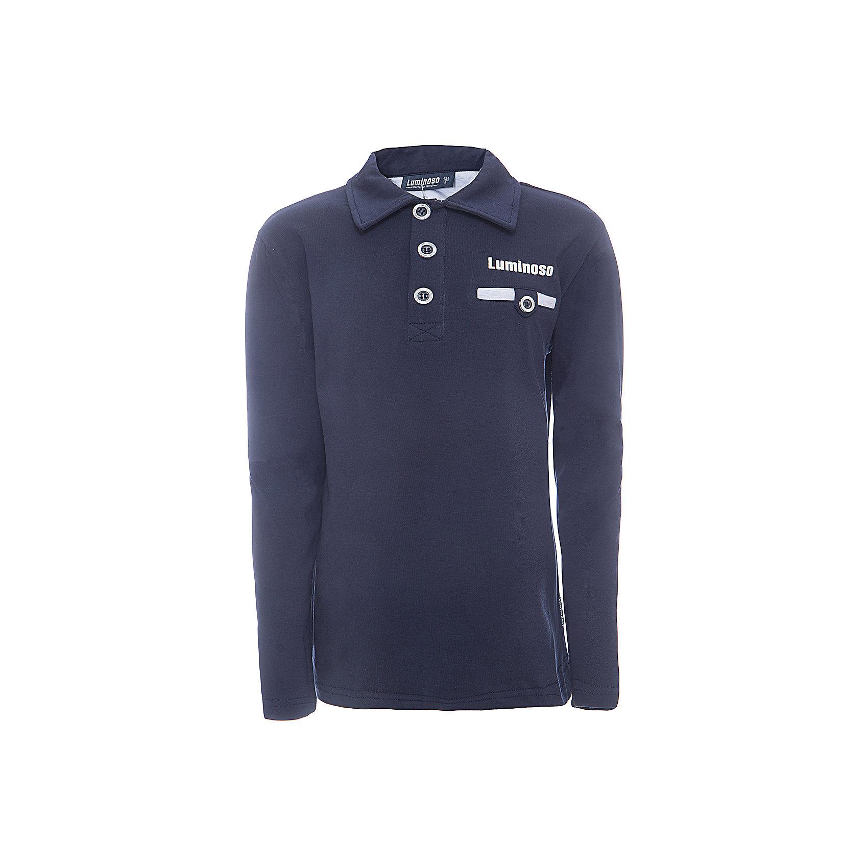 Рубашка-поло для мальчика LuminosoБлузки и рубашки<br>Характеристики товара:<br><br>• цвет: темно-синий<br>• состав: 95% хлопок, 5% эластан<br>• сезон: демисезон<br>• застежка: пуговицы<br>• нагрудный карман на пуговице<br>• особенности: школьная, однотонная<br>• страна бренда: Россия<br>• страна производства: Китай<br><br>Школьная рубашка-поло для мальчика. Темно-синий джемпер-поло из трикотажной хлопковой ткани с длинным рукавом для мальчика с воротничком и карманом и короткой застежкой на пуговицах.<br><br>Рубашка-поло для мальчика Luminoso (Люминосо) можно купить в нашем интернет-магазине.<br><br>Ширина мм: 230<br>Глубина мм: 40<br>Высота мм: 220<br>Вес г: 250<br>Цвет: синий<br>Возраст от месяцев: 108<br>Возраст до месяцев: 120<br>Пол: Мужской<br>Возраст: Детский<br>Размер: 140,152,158,164,146,122,128,134<br>SKU: 6672401