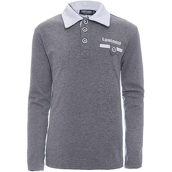 Рубашка-поло для мальчика LuminosoФутболки с длинным рукавом<br>Характеристики товара:<br><br>• цвет: темно-серый<br>• состав: 95% хлопок, 5% эластан<br>• сезон: демисезон<br>• застежка: пуговицы<br>• нагрудный карман на пуговице<br>• особенности: школьная<br>• страна бренда: Россия<br>• страна производства: Китай<br><br>Темно-серый джемпер-поло из трикотажной хлопковой ткани с длинным рукавом для мальчика с контрастным, светло-серым воротничком и карманом. С короткой застежкой на пуговицах.<br><br>Рубашка-поло для мальчика Luminoso (Люминосо) можно купить в нашем интернет-магазине.<br><br>Ширина мм: 230<br>Глубина мм: 40<br>Высота мм: 220<br>Вес г: 250<br>Цвет: серый<br>Возраст от месяцев: 144<br>Возраст до месяцев: 156<br>Пол: Мужской<br>Возраст: Детский<br>Размер: 158,134,140,146,152,164,122,128<br>SKU: 6672410