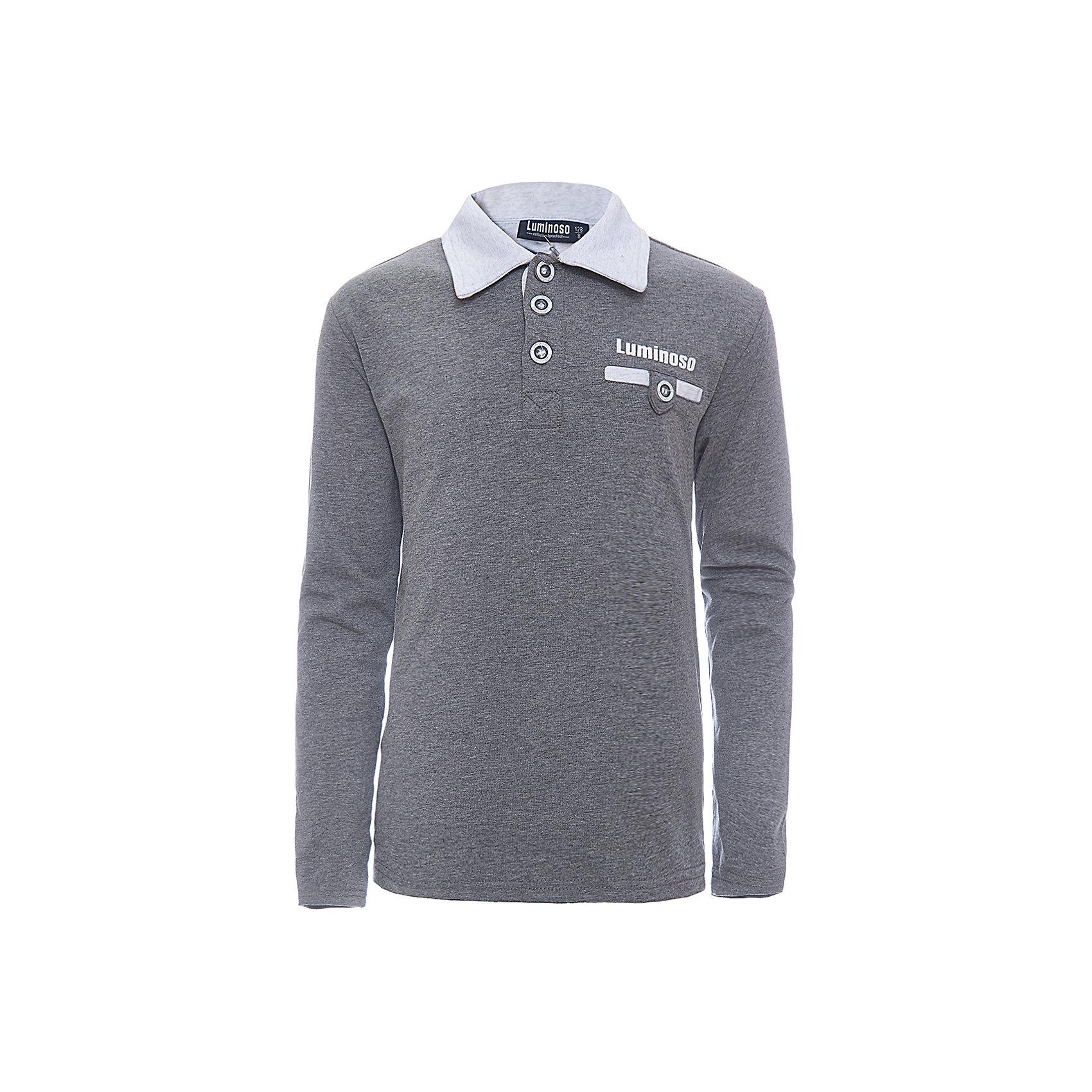 Рубашка-поло для мальчика LuminosoБлузки и рубашки<br>Характеристики товара:<br><br>• цвет: темно-серый<br>• состав: 95% хлопок, 5% эластан<br>• сезон: демисезон<br>• застежка: пуговицы<br>• нагрудный карман на пуговице<br>• особенности: школьная<br>• страна бренда: Россия<br>• страна производства: Китай<br><br>Темно-серый джемпер-поло из трикотажной хлопковой ткани с длинным рукавом для мальчика с контрастным, светло-серым воротничком и карманом. С короткой застежкой на пуговицах.<br><br>Рубашка-поло для мальчика Luminoso (Люминосо) можно купить в нашем интернет-магазине.<br><br>Ширина мм: 230<br>Глубина мм: 40<br>Высота мм: 220<br>Вес г: 250<br>Цвет: серый<br>Возраст от месяцев: 156<br>Возраст до месяцев: 168<br>Пол: Мужской<br>Возраст: Детский<br>Размер: 164,122,128,134,140,146,152,158<br>SKU: 6672410