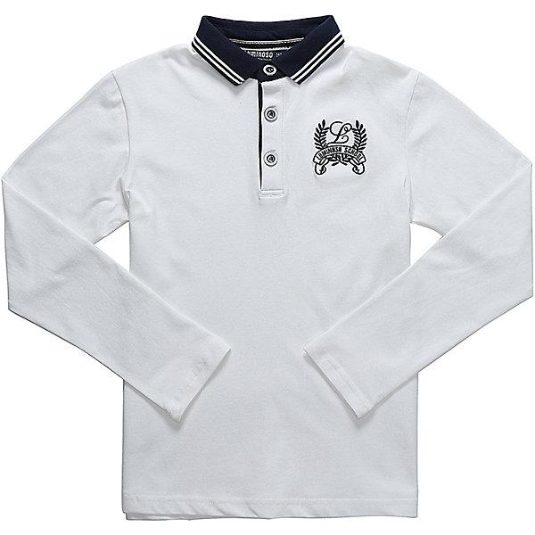 Рубашка-поло для мальчика LuminosoБлузки и рубашки<br>Характеристики товара:<br><br>• цвет: белый<br>• состав: 95% хлопок, 5% эластан<br>• сезон: демисезон<br>• застежка: пуговицы<br>• вышивка на груди<br>• особенности: школьная<br>• страна бренда: Россия<br>• страна производства: Китай<br><br>Белый джемпер-поло из трикотажной хлопковой ткани с длинным рукавом для мальчика декорированный оригинальной вышивкой и воротничком контрастного синего цвета. Школьная рубашка-поло с короткой застежкой на пуговицах.<br><br>Рубашка-поло для мальчика Luminoso (Люминосо) можно купить в нашем интернет-магазине.<br>Ширина мм: 230; Глубина мм: 40; Высота мм: 220; Вес г: 250; Цвет: белый; Возраст от месяцев: 156; Возраст до месяцев: 168; Пол: Мужской; Возраст: Детский; Размер: 164,122,158,152,146,140,134,128; SKU: 6672446;