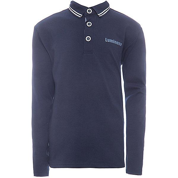 Рубашка-поло для мальчика LuminosoБлузки и рубашки<br>Характеристики товара:<br><br>• цвет: темно-синий<br>• состав: 95% хлопок, 5% эластан<br>• сезон: демисезон<br>• застежка: пуговицы<br>• особенности: школьная<br>• страна бренда: Россия<br>• страна производства: Китай<br><br>Темно-синий джемпер-поло из трикотажной хлопковой ткани с длинным рукавом для мальчика. Школьная рубашка-поло с короткой застежкой на пуговицах. Воротничок декорирован контрастной полосой.<br><br>Рубашка-поло для мальчика Luminoso (Люминосо) можно купить в нашем интернет-магазине.<br><br>Ширина мм: 230<br>Глубина мм: 40<br>Высота мм: 220<br>Вес г: 250<br>Цвет: синий<br>Возраст от месяцев: 108<br>Возраст до месяцев: 120<br>Пол: Мужской<br>Возраст: Детский<br>Размер: 140,122,134,128,164,158,152,146<br>SKU: 6672455