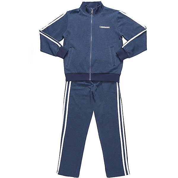 Спортивный костюм для мальчика LuminosoСпортивная форма<br>Характеристики товара:<br><br>• цвет: темно-синий<br>• состав: 95% хлопок, 5% эластан<br>• сезон: демисезон<br>• застежка: молния<br>• штаны на резинке<br>• дополнительный регулируемый шнурок<br>• два прорезных кармана <br>• особенности: для занятий физкультурой/спортом<br>• страна бренда: Россия<br>• страна производства: Китай<br><br>Классический спортивный костюм для мальчика из трикотажной, хлопковой ткани темно-синего цвета. Кофта с длинным рукавом и воротником стойкой. Два прорезных кармана. Застежка на молнии. Штаны прямого кроя, на широком эластичном поясе с дополнительно регулируемым шнуром. Кофта и брюки декорированны контрастными полосками. Спортивный костюм для физкультуры и занятий спортом.<br><br>Спортивный костюм для мальчика Luminoso (Люминосо) можно купить в нашем интернет-магазине.<br>Ширина мм: 247; Глубина мм: 16; Высота мм: 140; Вес г: 225; Цвет: синий; Возраст от месяцев: 144; Возраст до месяцев: 156; Пол: Мужской; Возраст: Детский; Размер: 158,122,152,146,140,134,128,164; SKU: 6672554;