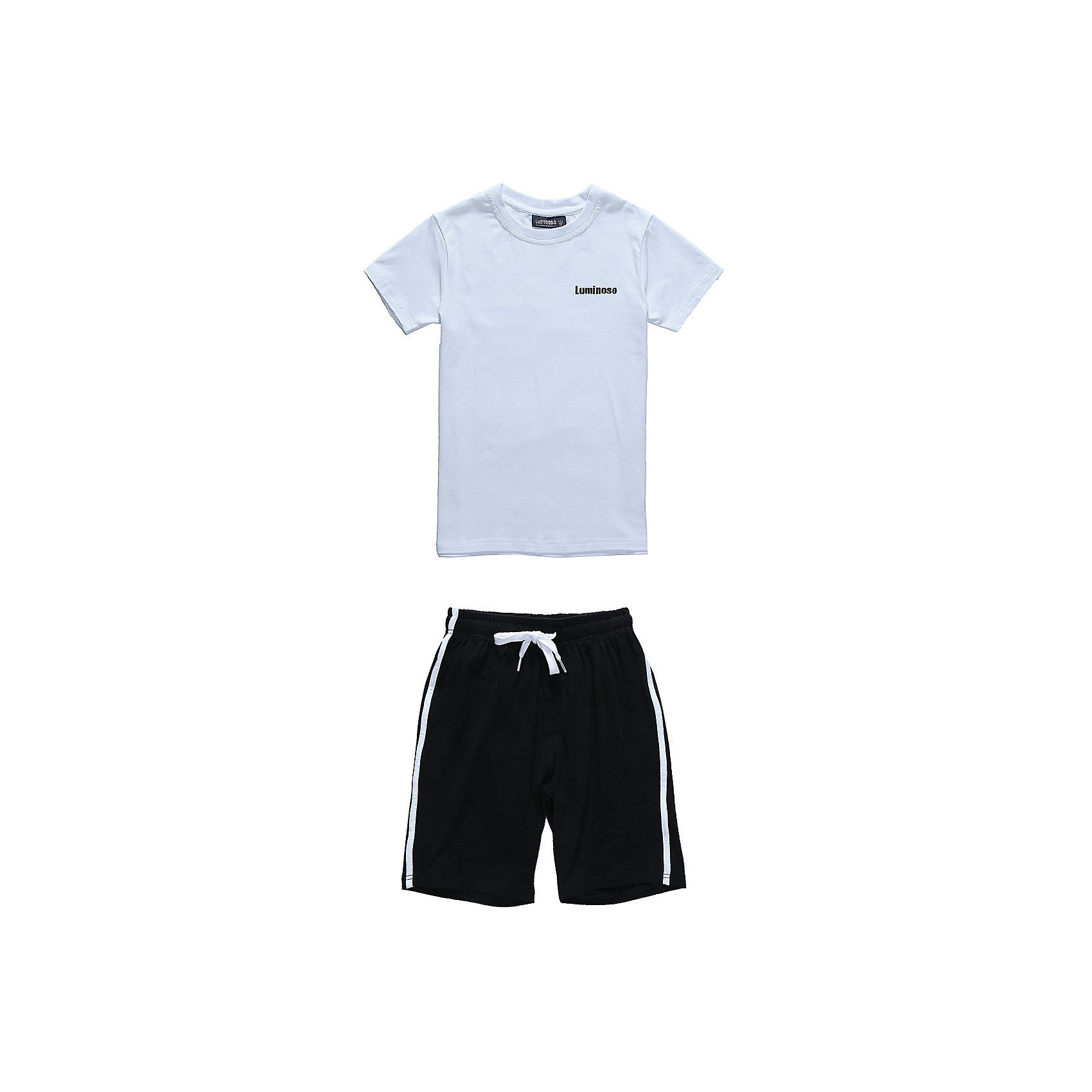Комплект: футболка и шорты для мальчика LuminosoСпортивная форма<br>Характеристики товара:<br><br>• цвет: белый/черный<br>• состав: 95% хлопок, 5% эластан<br>• сезон: круглый год<br>• комплектация: футболка, шорты<br>• застежка: шнурок<br>• особенности: для занятий физкультурой/спортом<br>• страна бренда: Россия<br>• страна производства: Китай<br><br>Спортивный костюм для мальчика состоящий из трикотажной хлопковой футболки и шорт. Футболка прямого кроя. Шорты декорированный контрастными лампасами. Шорты на резинке, дополнительно регулируются шнурком.<br><br>Комплект: футболка и шорты для мальчика Luminoso (Люминосо) можно купить в нашем интернет-магазине.<br><br>Ширина мм: 191<br>Глубина мм: 10<br>Высота мм: 175<br>Вес г: 273<br>Цвет: белый<br>Возраст от месяцев: 132<br>Возраст до месяцев: 144<br>Пол: Мужской<br>Возраст: Детский<br>Размер: 152,158,164,122,128,134,140,146<br>SKU: 6672563