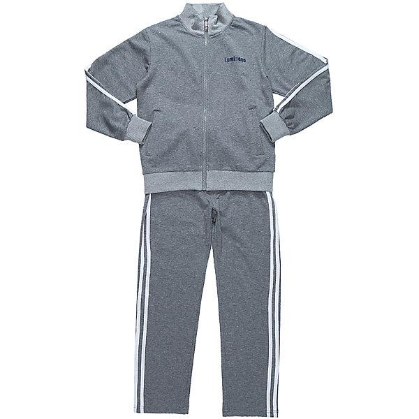 Спортивный костюм для мальчика LuminosoСпортивная форма<br>Характеристики товара:<br><br>• цвет: серый;<br>• состав: 95% хлопок, 5% эластан;<br>• сезон: демисезон;<br>• особенности: для занятий физкультурой/спортом;<br>• пояс брюк на резинке с дополнительным шнурком;<br>• кофта на молнии;<br>• эластичные манжеты и резинка по низу кофты;<br>• два прорезных кармана;<br>• страна бренда: Россия;<br>• страна производства: Китай.<br><br>Серый спортивный костюм для мальчика из трикотажной, хлопковой ткани. Кофта с длинным рукавом и воротником. Два прорезных кармана. Застежка на молнии. Штаны прямого кроя, на широком эластичном поясе с дополнительно регулируемым шнуром. Кофта и брюки декорированы контрастными полосками.<br><br>Спортивный костюм для мальчика Luminoso (Люминосо) можно купить в нашем интернет-магазине.<br><br>Ширина мм: 247<br>Глубина мм: 16<br>Высота мм: 140<br>Вес г: 225<br>Цвет: серый<br>Возраст от месяцев: 156<br>Возраст до месяцев: 168<br>Пол: Мужской<br>Возраст: Детский<br>Размер: 164,122,128,134,140,146,152,158<br>SKU: 6672626