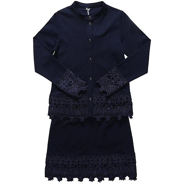 Комплект: пиджак и юбка для девочки LuminosoКостюмы и пиджаки<br>Характеристики товара:<br><br>• цвет: темно-синий;<br>• состав: 65% хлопок 30% полиэстер 5% эластан;<br>• сезон: демисезон;<br>• особенности: школьный, с кружевом;<br>• застежка: кнопки;<br>• пиджак без подкладки;<br>• эластичный пояс юбки;<br>• декорирован кружевом;<br>• страна бренда: Россия;<br>• страна производства: Китай.<br><br>Темно-синий трикотажный, классический костюм для девочки. Пиджак прямого кроя, застегивается на кнопки. Прямая юбка на широком, эластичном поясе. Низ пиджака, рукавов и юбки декорирован кружевным плетением.<br><br>Комплект: пиджак и юбка для девочки Luminoso (Люминосо) можно купить в нашем интернет-магазине.<br>Ширина мм: 207; Глубина мм: 10; Высота мм: 189; Вес г: 183; Цвет: синий; Возраст от месяцев: 132; Возраст до месяцев: 144; Пол: Женский; Возраст: Детский; Размер: 152,122,164,158,146,140,134,128; SKU: 6672752;
