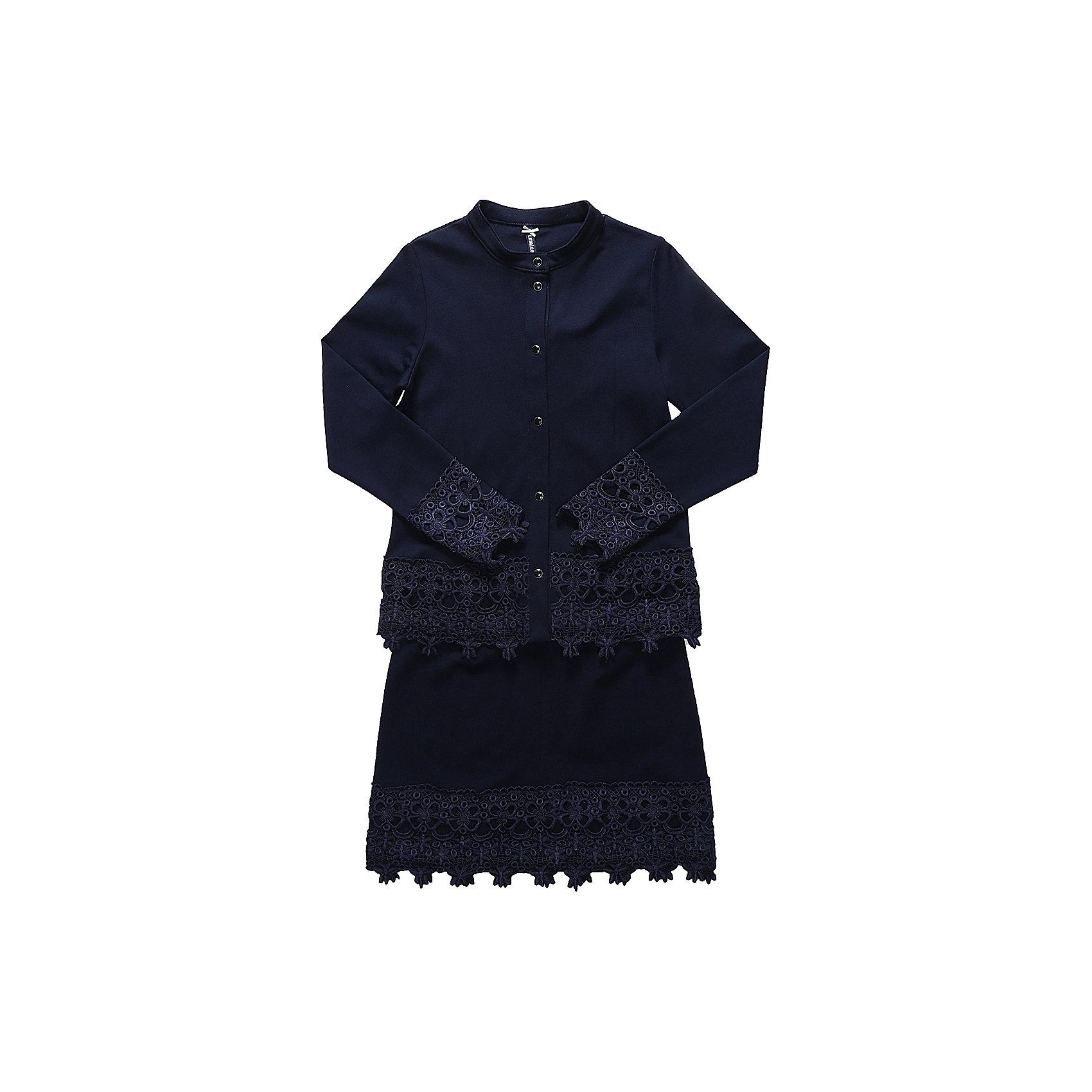 Комплект: пиджак и юбка для девочки LuminosoПиджаки и костюмы<br>Характеристики товара:<br><br>• цвет: темно-синий;<br>• состав: 65% хлопок 30% полиэстер 5% эластан;<br>• сезон: демисезон;<br>• особенности: школьный, с кружевом;<br>• застежка: кнопки;<br>• пиджак без подкладки;<br>• эластичный пояс юбки;<br>• декорирован кружевом;<br>• страна бренда: Россия;<br>• страна производства: Китай.<br><br>Темно-синий трикотажный, классический костюм для девочки. Пиджак прямого кроя, застегивается на кнопки. Прямая юбка на широком, эластичном поясе. Низ пиджака, рукавов и юбки декорирован кружевным плетением.<br><br>Комплект: пиджак и юбка для девочки Luminoso (Люминосо) можно купить в нашем интернет-магазине.<br><br>Ширина мм: 207<br>Глубина мм: 10<br>Высота мм: 189<br>Вес г: 183<br>Цвет: синий<br>Возраст от месяцев: 120<br>Возраст до месяцев: 132<br>Пол: Женский<br>Возраст: Детский<br>Размер: 146,164,122,128,134,140,152,158<br>SKU: 6672752