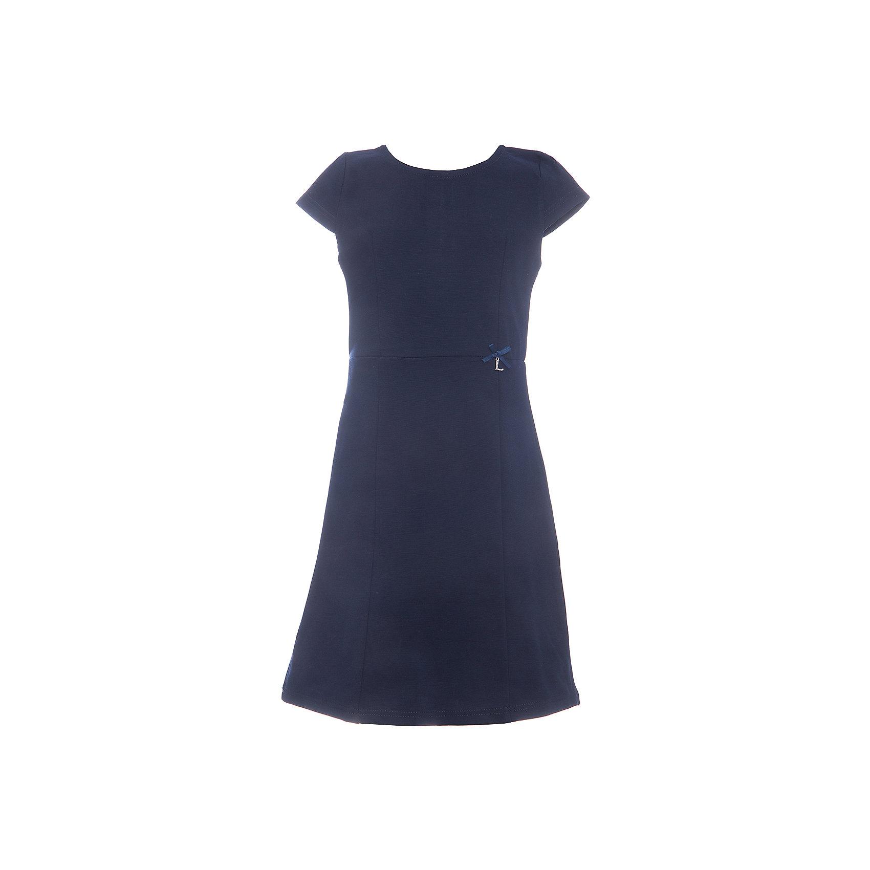Платье для девочки LuminosoПлатья и сарафаны<br>Характеристики товара:<br><br>• цвет: синий;<br>• состав: 65% хлопок 30% полиэстер 5% эластан;<br>• сезон: демисезон;<br>• особенности: школьное, приталенное;<br>• застежка: молния;<br>• с коротким рукавом:<br>• декорировано бантиком;<br>• страна бренда: Россия;<br>• страна производства: Китай.<br><br>Темно-синее классическое трикотажное платье с коротким рукавом для девочки приталенного кроя с округлым вырезом и коротким рукавом. Школьное платье застегивается на молнию на спине.<br><br>Платье для девочки Luminoso (Люминосо) можно купить в нашем интернет-магазине.<br><br>Ширина мм: 236<br>Глубина мм: 16<br>Высота мм: 184<br>Вес г: 177<br>Цвет: синий<br>Возраст от месяцев: 156<br>Возраст до месяцев: 168<br>Пол: Женский<br>Возраст: Детский<br>Размер: 164,122,128,134,140,146,152,158<br>SKU: 6672806