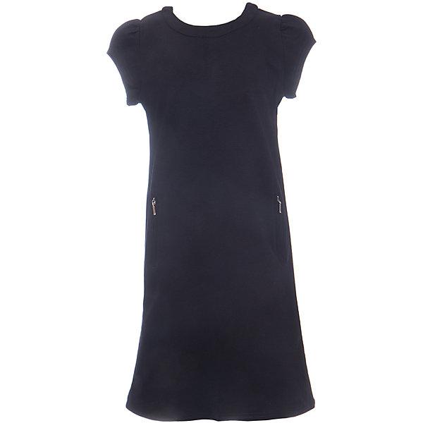 Платье для девочки LuminosoПлатья и сарафаны<br>Характеристики товара:<br><br>• цвет: черный;<br>• состав: 65% хлопок 30% полиэстер 5% эластан;<br>• сезон: демисезон;<br>• особенности: школьное;<br>• застежка: молния;<br>• с коротким рукавом:<br>• декорировано молниями;<br>• страна бренда: Россия;<br>• страна производства: Китай.<br><br>Черное трикотажное платье для девочки с округлым вырезом и коротким рукавом А-силуэта. Школьное платье декорировано стильными молниями. Застежка-молния расположена на спинке изделия.<br><br>Платье для девочки Luminoso (Люминосо) можно купить в нашем интернет-магазине.<br><br>Ширина мм: 236<br>Глубина мм: 16<br>Высота мм: 184<br>Вес г: 177<br>Цвет: черный<br>Возраст от месяцев: 72<br>Возраст до месяцев: 84<br>Пол: Женский<br>Возраст: Детский<br>Размер: 122,164,158,152,146,140,134,128<br>SKU: 6672842