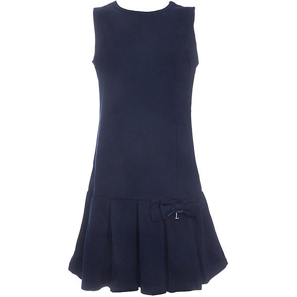 Платье для девочки LuminosoПлатья и сарафаны<br>Характеристики товара:<br><br>• цвет: синий;<br>• состав: 65% хлопок 30% полиэстер 5% эластан;<br>• сезон: демисезон;<br>• особенности: школьное, плиссированное;<br>• с коротким рукавом:<br>• юбка с плиссировкой;<br>• страна бренда: Россия;<br>• страна производства: Китай.<br><br>Темно-синее трикотажное платье-сарафан А-силуэта с округлым вырезом для девочки. Юбка декорирована плиссировкой. Школьное платье без рукавов.<br><br>Платье для девочки Luminoso (Люминосо) можно купить в нашем интернет-магазине.<br>Ширина мм: 236; Глубина мм: 16; Высота мм: 184; Вес г: 177; Цвет: синий; Возраст от месяцев: 72; Возраст до месяцев: 84; Пол: Женский; Возраст: Детский; Размер: 122,164,158,152,146,140,134,128; SKU: 6672851;