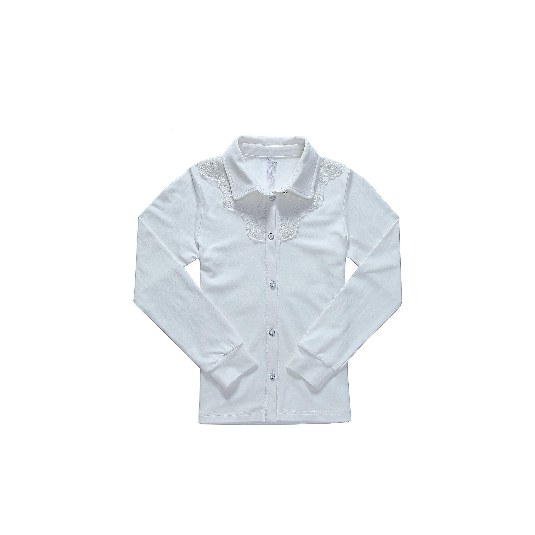 Блузка для девочки LuminosoБлузки и рубашки<br>Характеристики товара:<br><br>• цвет: белый;<br>• состав: 95% хлопок, 5% эластан;<br>• сезон: демисезон;<br>• особенности: школьная, однотонная;<br>• с длинным рукавом;<br>• застежка: пуговицы;<br>• трикотажный эластичные манжеты; <br>• отложной воротничок;<br>• ворот декорирован кружевом;<br>• страна бренда: Россия;<br>• страна производства: Китай.<br><br>Школьная блузка с длинным рукавом для девочки из хлопкового полотна, с отложным воротничком. Рукав с трикотажным манжетом. Блузка декорирована кружевным плетением. Застегивается на изящные пуговки.<br><br>Блузка для девочки Luminoso (Люминосо) можно купить в нашем интернет-магазине.<br><br>Ширина мм: 186<br>Глубина мм: 87<br>Высота мм: 198<br>Вес г: 197<br>Цвет: белый<br>Возраст от месяцев: 156<br>Возраст до месяцев: 168<br>Пол: Женский<br>Возраст: Детский<br>Размер: 164,122,128,134,140,146,152,158<br>SKU: 6672887