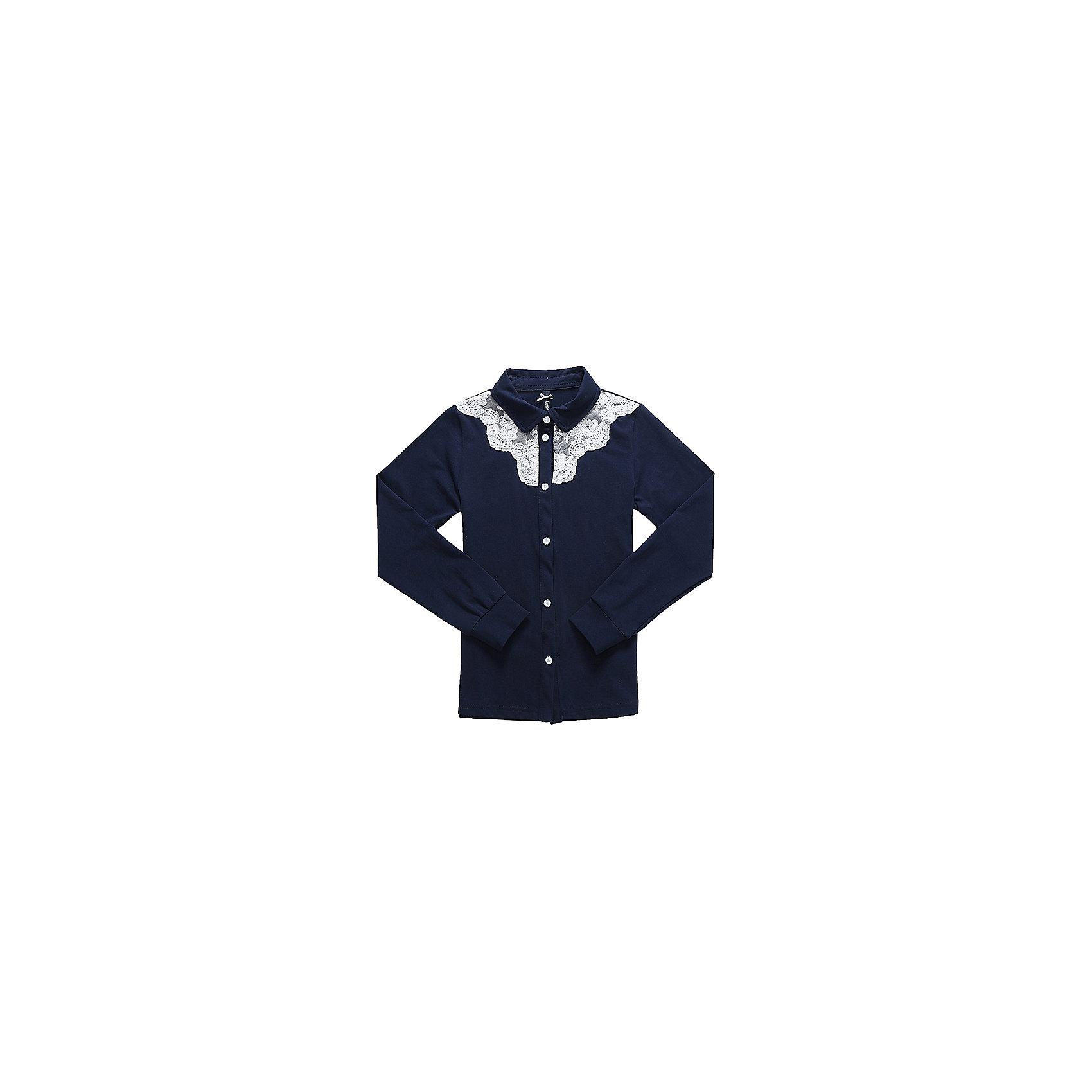 Блузка для девочки LuminosoБлузки и рубашки<br>Характеристики товара:<br><br>• цвет: синий;<br>• состав: 95% хлопок, 5% эластан;<br>• сезон: демисезон;<br>• особенности: школьная, однотонная;<br>• с длинным рукавом;<br>• застежка: пуговицы;<br>• трикотажный эластичные манжеты; <br>• отложной воротничок;<br>• ворот декорирован кружевом;<br>• страна бренда: Россия;<br>• страна производства: Китай.<br><br>Школьная блузка с длинным рукавом для девочки из хлопкового полотна, с отложным воротничком. Рукав с трикотажным манжетом. Блузка декорирована контрастным кружевным плетением. Застегивается на изящные пуговки.<br><br>Блузка для девочки Luminoso (Люминосо) можно купить в нашем интернет-магазине.<br><br>Ширина мм: 186<br>Глубина мм: 87<br>Высота мм: 198<br>Вес г: 197<br>Цвет: синий<br>Возраст от месяцев: 84<br>Возраст до месяцев: 96<br>Пол: Женский<br>Возраст: Детский<br>Размер: 128,134,140,146,152,158,164,122<br>SKU: 6672896