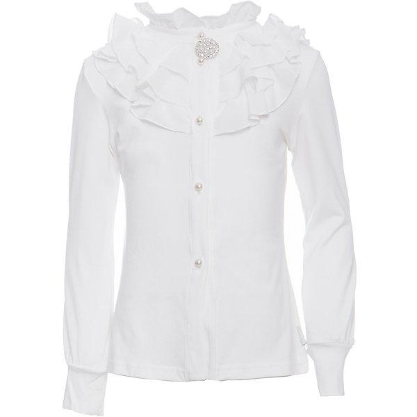 Блузка для девочки LuminosoБлузки и рубашки<br>Характеристики товара:<br><br>• цвет: белый;<br>• состав: 95% хлопок, 5% эластан;<br>• сезон: демисезон;<br>• особенности: школьная, с шифоном;<br>• с длинным рукавом;<br>• застежка: пуговицы;<br>• трикотажные эластичные манжеты; <br>• ворот декорирован шифоном и брошью;<br>• страна бренда: Россия;<br>• страна производства: Китай.<br><br>Школьная блузка с длинным рукавом для девочки. Белая блузка декорирована плиссированным шифоном и брошью. Рукав с трикотажным манжетом. Застегивается на пуговки в виде жемчужин.<br><br>Блузка для девочки Luminoso (Люминосо) можно купить в нашем интернет-магазине.<br>Ширина мм: 186; Глубина мм: 87; Высота мм: 198; Вес г: 197; Цвет: белый; Возраст от месяцев: 72; Возраст до месяцев: 84; Пол: Женский; Возраст: Детский; Размер: 122,164,158,152,146,140,134,128; SKU: 6672905;