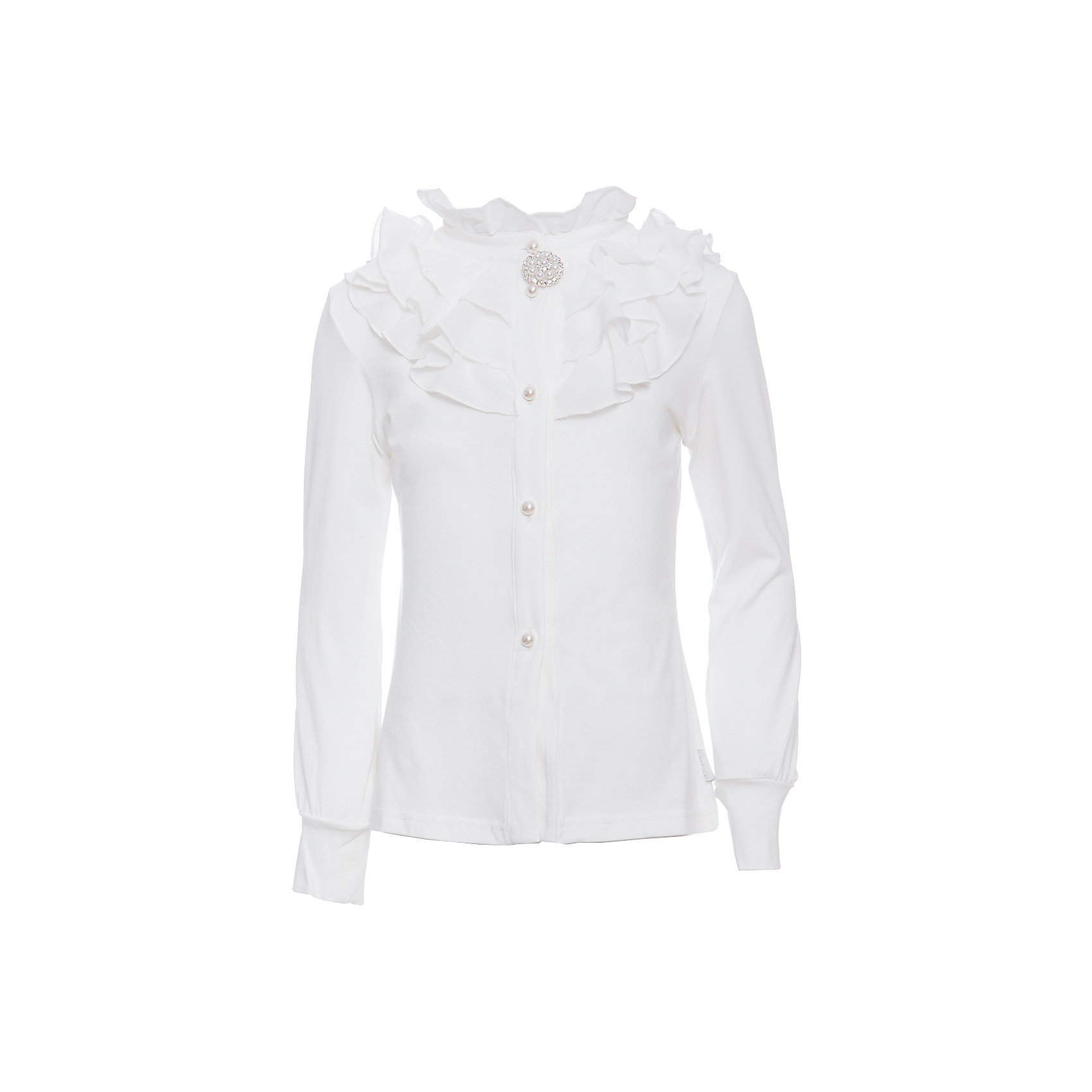 Блузка для девочки LuminosoБлузки и рубашки<br>Нарядная трикотажная блузка для девочки из хлопкового полотна, молочного цвета с воротником стойкой и длинным рукавом. Блузка декорирована плиссированным шифоном  и брошью. Рукав с трикотажным манжетом. Застегивается на пуговки в виде жемчужин.<br>Состав:<br>95% хлопок, 5% эластан<br><br>Ширина мм: 186<br>Глубина мм: 87<br>Высота мм: 198<br>Вес г: 197<br>Цвет: белый<br>Возраст от месяцев: 156<br>Возраст до месяцев: 168<br>Пол: Женский<br>Возраст: Детский<br>Размер: 164,122,128,134,140,146,152,158<br>SKU: 6672905