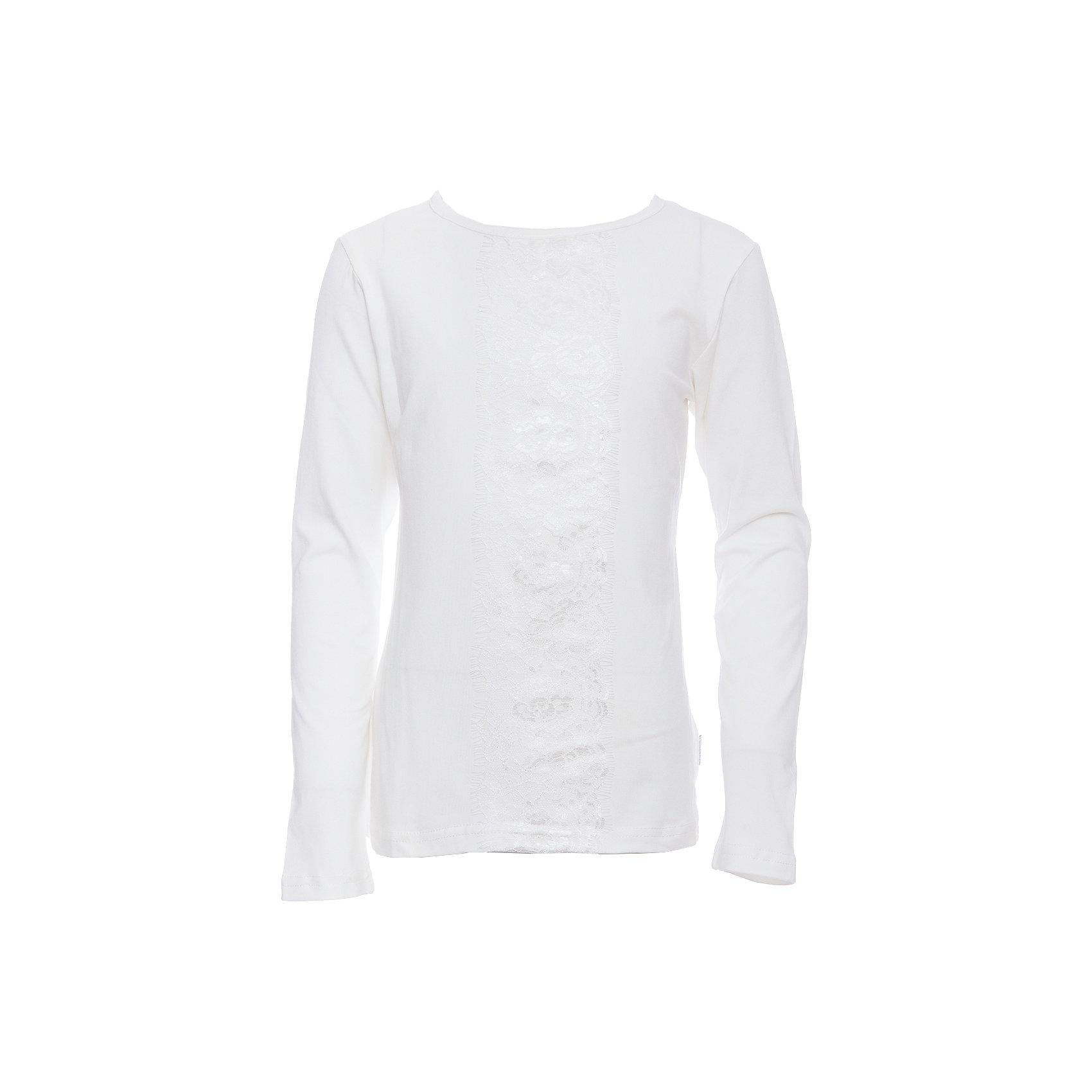 Футболка с длинным рукавом для девочки LuminosoБлузки и рубашки<br>Характеристики товара:<br><br>• цвет: белый;<br>• состав: 95% хлопок, 5% эластан;<br>• сезон: демисезон;<br>• особенности: школьная, с кружевом;<br>• с длинным рукавом;<br>• застежка: пуговица сзади на горловине;<br>• декорирована кружевной вставкой; <br>• страна бренда: Россия;<br>• страна производства: Китай.<br><br>Школьная блузка с длинным рукавом для девочки. Белая блузка с округлым вырезом и длинным рукавом. Декорированная кружевной вставкой в тон изделию. Застегивается на пуговку на спинке.<br><br>Блузка для девочки Luminoso (Люминосо) можно купить в нашем интернет-магазине.<br><br>Ширина мм: 186<br>Глубина мм: 87<br>Высота мм: 198<br>Вес г: 197<br>Цвет: белый<br>Возраст от месяцев: 84<br>Возраст до месяцев: 96<br>Пол: Женский<br>Возраст: Детский<br>Размер: 128,164,122,134,140,146,152,158<br>SKU: 6672923