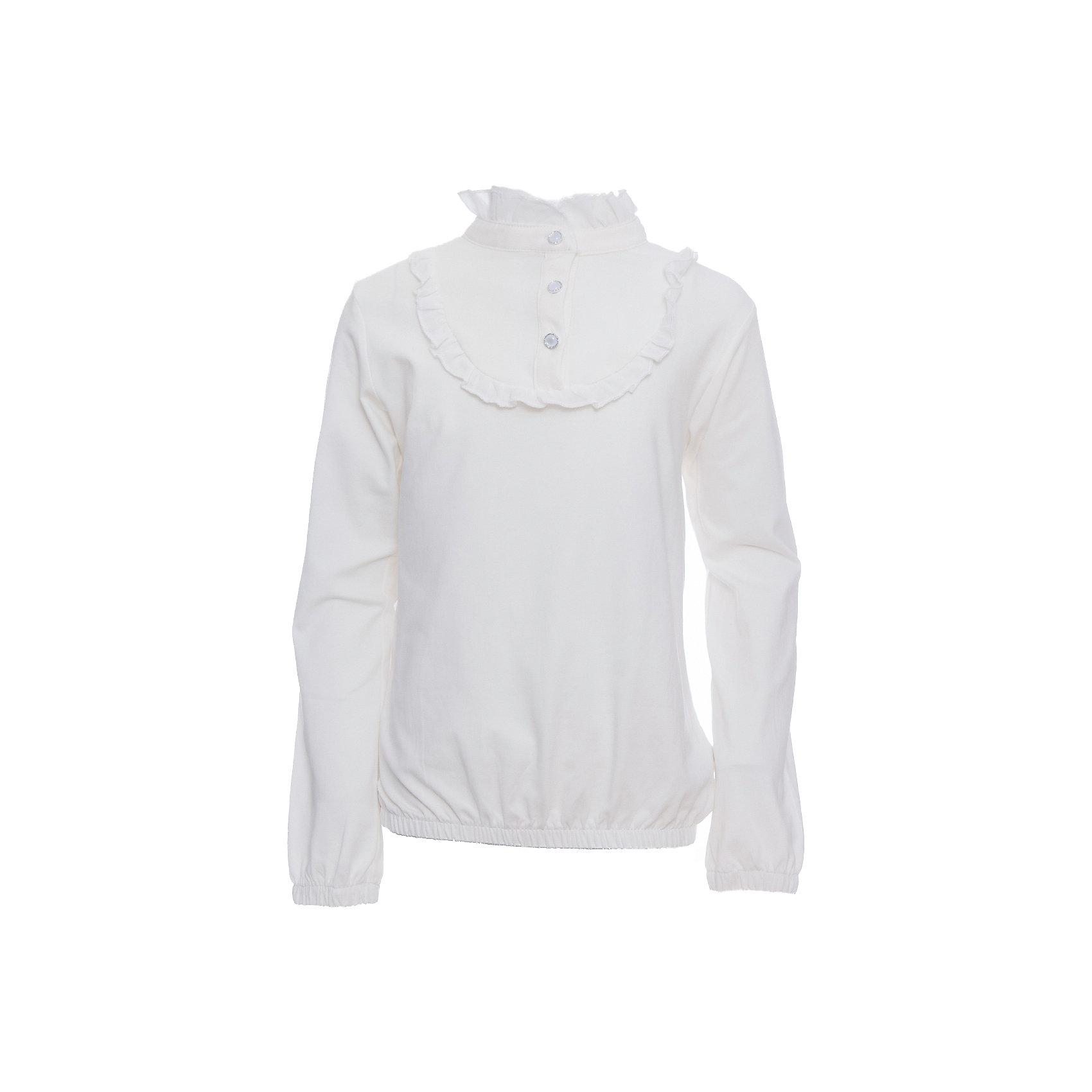Блузка для девочки LuminosoБлузки и рубашки<br>Характеристики товара:<br><br>• цвет: белый;<br>• состав: 95% хлопок, 5% эластан;<br>• сезон: демисезон;<br>• особенности: школьная, с шифоном;<br>• застежка: пуговицы на горловине;<br>• с длинным рукавом;<br>• манжеты рукавов на мягкой резинке;<br>• страна бренда: Россия;<br>• страна производства: Китай.<br><br>Школьная блузка с длинным рукавом для девочки. Белая блузка с шифоновой вставкой на кокетке. Рукава и низ блузки собраны на мягкую резинку. Однотонная блузка застегивается на пуговице на горловине. <br><br>Блузка для девочки Luminoso (Люминосо) можно купить в нашем интернет-магазине.<br><br>Ширина мм: 186<br>Глубина мм: 87<br>Высота мм: 198<br>Вес г: 197<br>Цвет: белый<br>Возраст от месяцев: 156<br>Возраст до месяцев: 168<br>Пол: Женский<br>Возраст: Детский<br>Размер: 164,152,122,128,134,140,146,158<br>SKU: 6672941