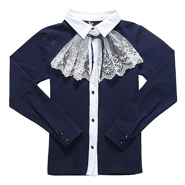 Блузка для девочки LuminosoБлузки и рубашки<br>Характеристики товара:<br><br>• цвет: темно-синий;<br>• состав: 95% хлопок, 5% эластан;<br>• сезон: демисезон;<br>• особенности: школьная, с жабо;<br>• застежка: пуговицы;<br>• с длинным рукавом;<br>• съемный воротник-жабо;<br>• трикотажные манжеты на пуговицах;<br>• страна бренда: Россия;<br>• страна производства: Китай.<br><br>Школьная блузка с длинным рукавом для девочки. Темно-синяя трикотажная блузка застегивается на пуговицы. Блузка декорирована съемным воротником-жабо контрастного белого цвета. <br><br>Блузка для девочки Luminoso (Люминосо) можно купить в нашем интернет-магазине.<br>Ширина мм: 186; Глубина мм: 87; Высота мм: 198; Вес г: 197; Цвет: синий; Возраст от месяцев: 156; Возраст до месяцев: 168; Пол: Женский; Возраст: Детский; Размер: 164,158,152,146,140,134,128,122; SKU: 6672986;