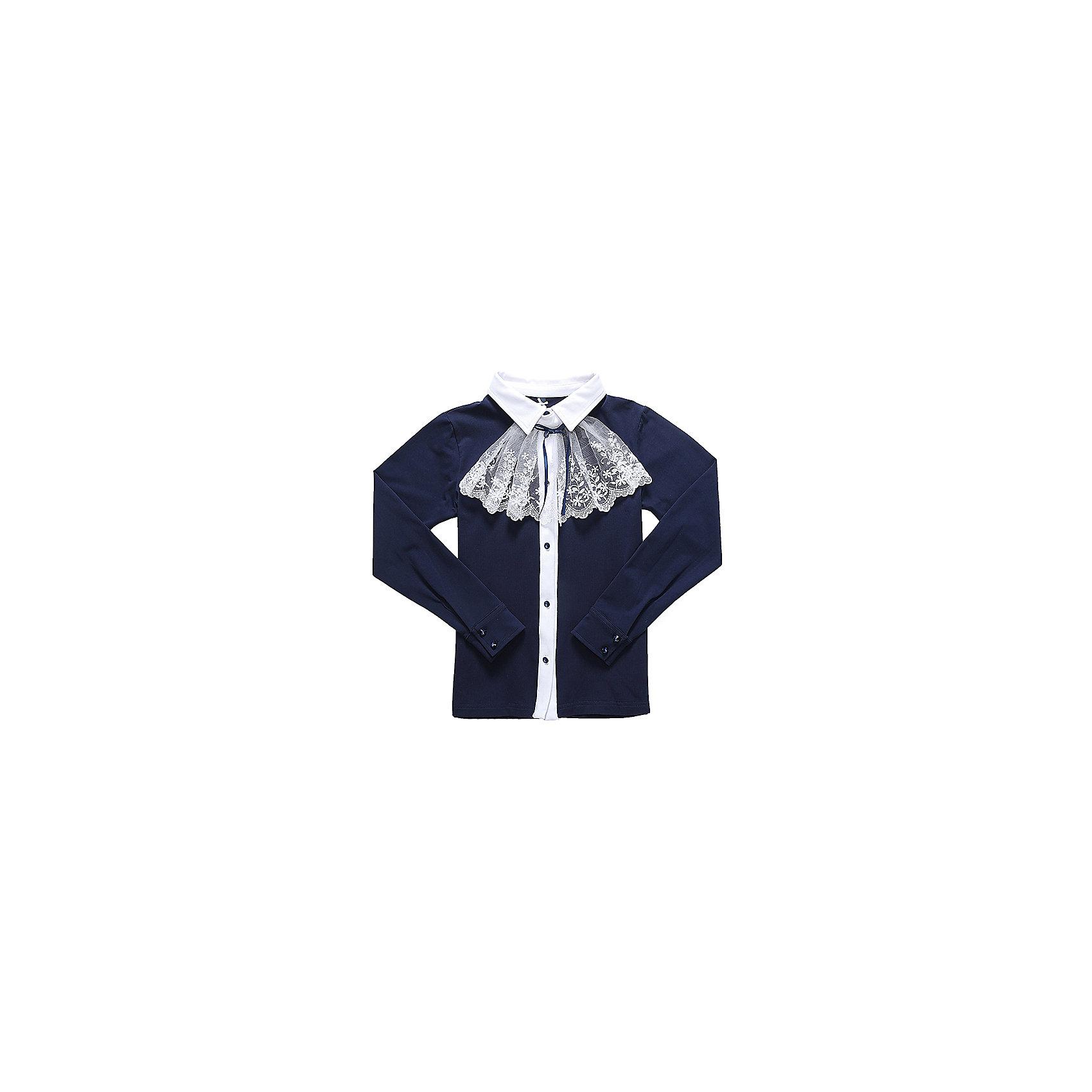 Блузка для девочки LuminosoБлузки и рубашки<br>Характеристики товара:<br><br>• цвет: темно-синий;<br>• состав: 95% хлопок, 5% эластан;<br>• сезон: демисезон;<br>• особенности: школьная, с жабо;<br>• застежка: пуговицы;<br>• с длинным рукавом;<br>• съемный воротник-жабо;<br>• трикотажные манжеты на пуговицах;<br>• страна бренда: Россия;<br>• страна производства: Китай.<br><br>Школьная блузка с длинным рукавом для девочки. Темно-синяя трикотажная блузка застегивается на пуговицы. Блузка декорирована съемным воротником-жабо контрастного белого цвета. <br><br>Блузка для девочки Luminoso (Люминосо) можно купить в нашем интернет-магазине.<br><br>Ширина мм: 186<br>Глубина мм: 87<br>Высота мм: 198<br>Вес г: 197<br>Цвет: синий<br>Возраст от месяцев: 120<br>Возраст до месяцев: 132<br>Пол: Женский<br>Возраст: Детский<br>Размер: 146,140,152,158,164,122,128,134<br>SKU: 6672986