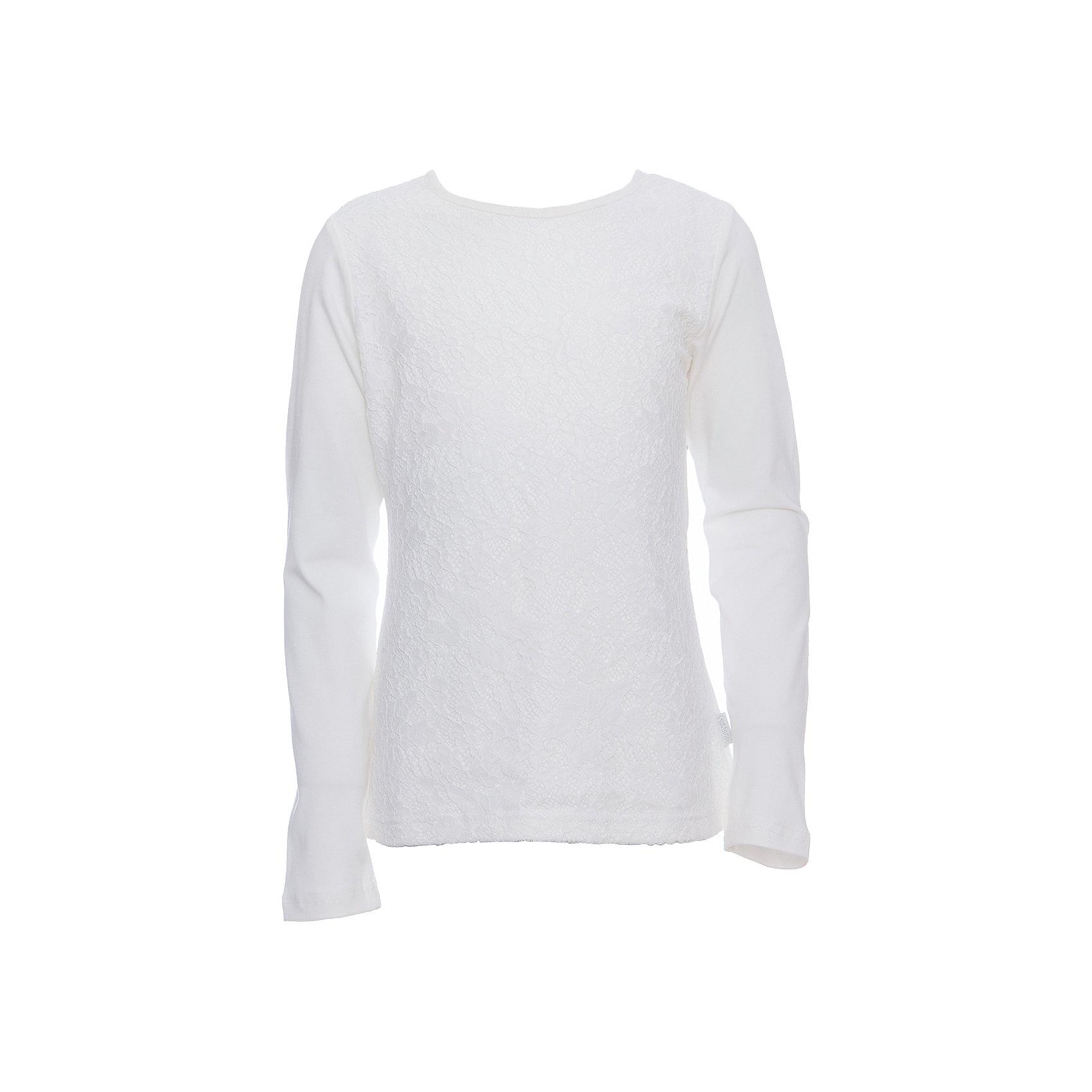Футболка с длинным рукавом для девочки LuminosoБлузки и рубашки<br>Характеристики товара:<br><br>• цвет: молочный;<br>• состав: 95% хлопок, 5% эластан;<br>• сезон: демисезон;<br>• особенности: школьная, с кружевом;<br>• застежка: пуговка на спине;<br>• с длинным рукавом;<br>• спереди декорирована кружевом;<br>• страна бренда: Россия;<br>• страна производства: Китай.<br><br>Школьная блузка с длинным рукавом для девочки. Молочная трикотажная блузка застегивается на пуговку на спине. Блузка декорирована кружевом.<br><br>Блузка для девочки Luminoso (Люминосо) можно купить в нашем интернет-магазине.<br><br>Ширина мм: 186<br>Глубина мм: 87<br>Высота мм: 198<br>Вес г: 197<br>Цвет: белый<br>Возраст от месяцев: 120<br>Возраст до месяцев: 132<br>Пол: Женский<br>Возраст: Детский<br>Размер: 146,164,122,128,134,140,152,158<br>SKU: 6673004