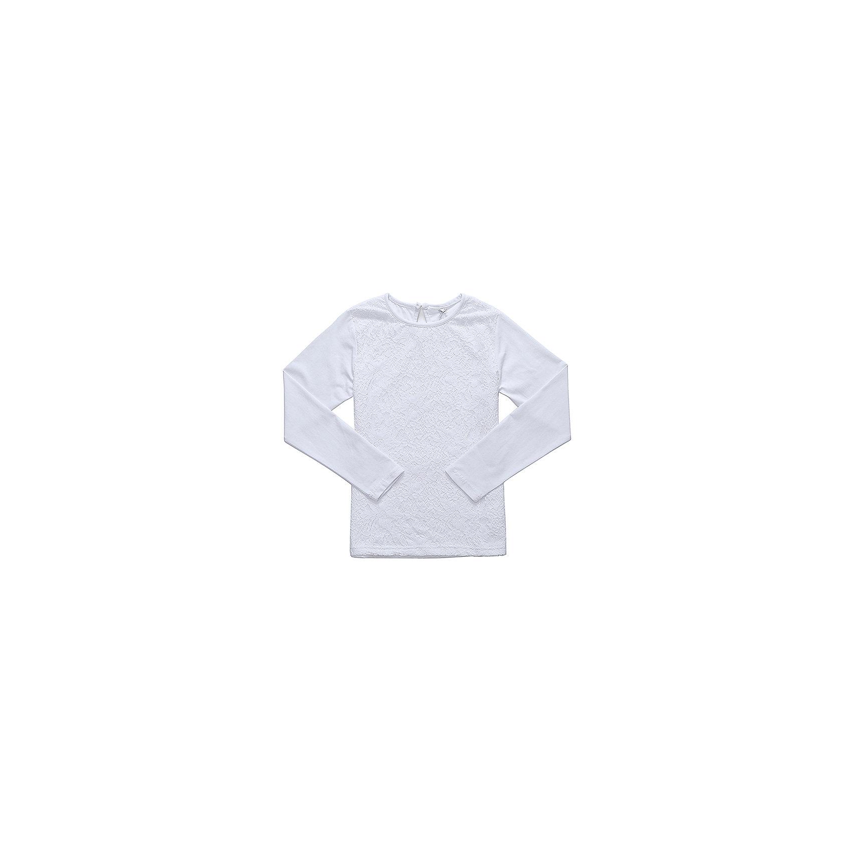 Блузка для девочки LuminosoБлузки и рубашки<br>Характеристики товара:<br><br>• цвет: белый;<br>• состав: 95% хлопок, 5% эластан;<br>• сезон: демисезон;<br>• особенности: школьная, с кружевом;<br>• застежка: пуговка на спине;<br>• с длинным рукавом;<br>• спереди декорирована кружевом;<br>• страна бренда: Россия;<br>• страна производства: Китай.<br><br>Школьная блузка с длинным рукавом для девочки. Белая трикотажная блузка застегивается на пуговку на спине. Блузка декорирована кружевом.<br><br>Блузка для девочки Luminoso (Люминосо) можно купить в нашем интернет-магазине.<br><br>Ширина мм: 186<br>Глубина мм: 87<br>Высота мм: 198<br>Вес г: 197<br>Цвет: белый<br>Возраст от месяцев: 84<br>Возраст до месяцев: 96<br>Пол: Женский<br>Возраст: Детский<br>Размер: 128,164,122,134,140,146,152,158<br>SKU: 6673013