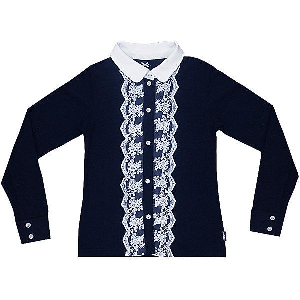 Блузка для девочки LuminosoБлузки и рубашки<br>Характеристики товара:<br><br>• цвет: темно-синий;<br>• состав: 95% хлопок, 5% эластан;<br>• сезон: демисезон;<br>• особенности: школьная, с кружевом;<br>• застежка: пуговицы;<br>• с длинным рукавом;<br>• спереди декорирована кружевом; <br>• манжеты рукавов на пуговице;<br>• страна бренда: Россия;<br>• страна производства: Китай.<br><br>Школьная блузка с длинным рукавом для девочки. Темно-синяя трикотажная блузка застегивается на пуговицы, манжеты рукавов на двух пуговицах. Блузка декорирована кружевом контрастного белого цвета.<br><br>Блузка для девочки Luminoso (Люминосо) можно купить в нашем интернет-магазине.<br>Ширина мм: 186; Глубина мм: 87; Высота мм: 198; Вес г: 197; Цвет: синий; Возраст от месяцев: 84; Возраст до месяцев: 96; Пол: Женский; Возраст: Детский; Размер: 128,134,122,140,146,152,158,164; SKU: 6673022;