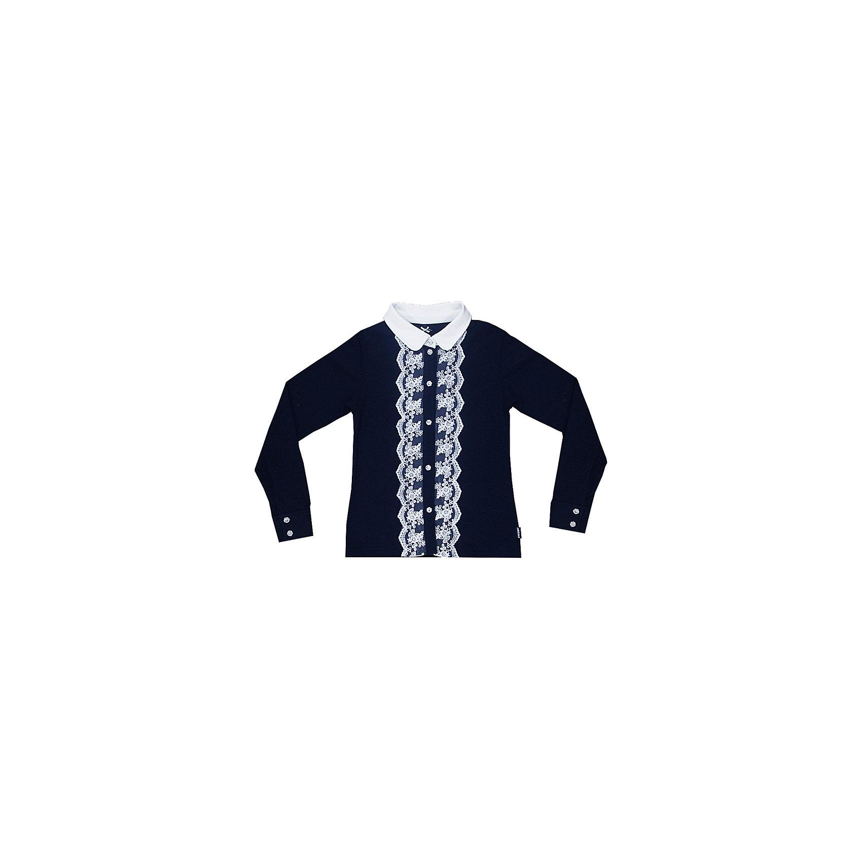 Блузка для девочки LuminosoБлузки и рубашки<br>Характеристики товара:<br><br>• цвет: темно-синий;<br>• состав: 95% хлопок, 5% эластан;<br>• сезон: демисезон;<br>• особенности: школьная, с кружевом;<br>• застежка: пуговицы;<br>• с длинным рукавом;<br>• спереди декорирована кружевом; <br>• манжеты рукавов на пуговице;<br>• страна бренда: Россия;<br>• страна производства: Китай.<br><br>Школьная блузка с длинным рукавом для девочки. Темно-синяя трикотажная блузка застегивается на пуговицы, манжеты рукавов на двух пуговицах. Блузка декорирована кружевом контрастного белого цвета.<br><br>Блузка для девочки Luminoso (Люминосо) можно купить в нашем интернет-магазине.<br><br>Ширина мм: 186<br>Глубина мм: 87<br>Высота мм: 198<br>Вес г: 197<br>Цвет: синий<br>Возраст от месяцев: 120<br>Возраст до месяцев: 132<br>Пол: Женский<br>Возраст: Детский<br>Размер: 146,140,152,158,164,122,128,134<br>SKU: 6673022