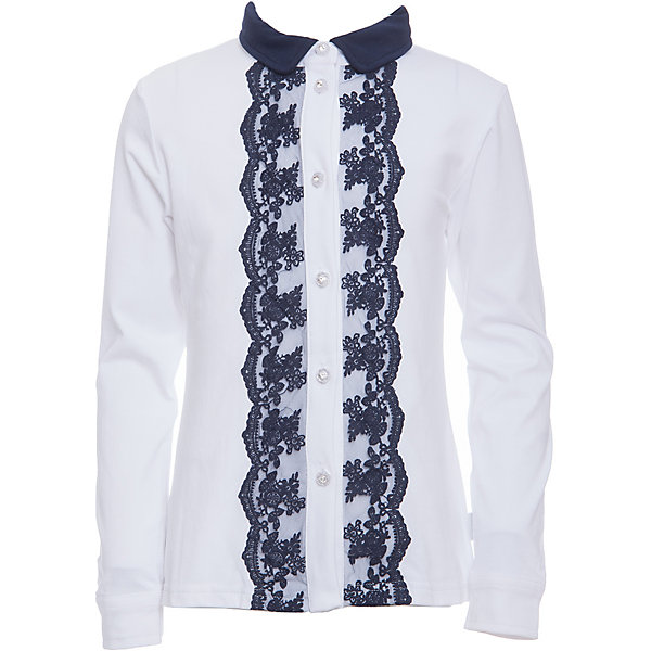 Блузка для девочки LuminosoБлузки и рубашки<br>Характеристики товара:<br><br>• цвет: белый;<br>• состав: 95% хлопок, 5% эластан;<br>• сезон: демисезон;<br>• особенности: школьная, с кружевом;<br>• застежка: пуговицы;<br>• с длинным рукавом;<br>• спереди декорирована кружевом; <br>• манжеты рукавов на пуговице;<br>• страна бренда: Россия;<br>• страна производства: Китай.<br><br>Школьная блузка с длинным рукавом для девочки. Белая трикотажная блузка застегивается на пуговицы, манжеты рукавов на двух пуговицах. Блузка декорирована кружевом контрастного синего цвета.<br><br>Блузка для девочки Luminoso (Люминосо) можно купить в нашем интернет-магазине.<br>Ширина мм: 186; Глубина мм: 87; Высота мм: 198; Вес г: 197; Цвет: белый; Возраст от месяцев: 72; Возраст до месяцев: 84; Пол: Женский; Возраст: Детский; Размер: 122,164,158,152,146,140,134,128; SKU: 6673031;