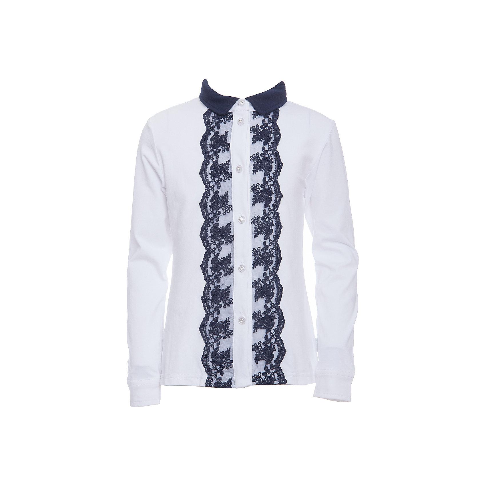 Блузка для девочки LuminosoБлузки и рубашки<br>Характеристики товара:<br><br>• цвет: белый;<br>• состав: 95% хлопок, 5% эластан;<br>• сезон: демисезон;<br>• особенности: школьная, с кружевом;<br>• застежка: пуговицы;<br>• с длинным рукавом;<br>• спереди декорирована кружевом; <br>• манжеты рукавов на пуговице;<br>• страна бренда: Россия;<br>• страна производства: Китай.<br><br>Школьная блузка с длинным рукавом для девочки. Белая трикотажная блузка застегивается на пуговицы, манжеты рукавов на двух пуговицах. Блузка декорирована кружевом контрастного синего цвета.<br><br>Блузка для девочки Luminoso (Люминосо) можно купить в нашем интернет-магазине.<br><br>Ширина мм: 186<br>Глубина мм: 87<br>Высота мм: 198<br>Вес г: 197<br>Цвет: белый<br>Возраст от месяцев: 156<br>Возраст до месяцев: 168<br>Пол: Женский<br>Возраст: Детский<br>Размер: 164,122,128,134,140,146,152,158<br>SKU: 6673031