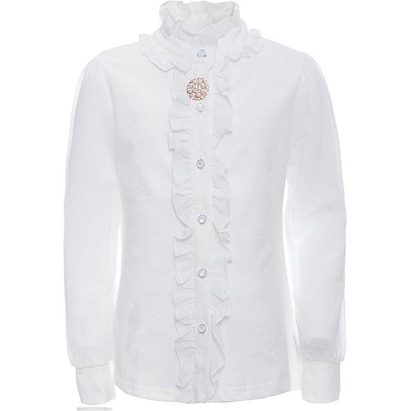 Блузка для девочки LuminosoБлузки и рубашки<br>Характеристики товара:<br><br>• цвет: молочный;<br>• состав: 95% хлопок, 5% эластан;<br>• сезон: демисезон;<br>• особенности: школьная, с воланами;<br>• застежка: пуговицы;<br>• длинные рукава из легкого шифона;<br>• воротник-стойка;<br>• декорирована шифоновыми воланами;<br>• элегантная брошь;<br>• страна бренда: Россия;<br>• страна производства: Китай.<br><br>Школьная блузка с длинным рукавом для девочки. Белая блузка застегивается на пуговицы. Рукава выполнены из легкого шифона, манжеты трикотажные. Воротник и планка декорированы мягкими шифоновыми воланами, на воротнике элегантная брошь.<br><br>Блузка для девочки Luminoso (Люминосо) можно купить в нашем интернет-магазине.<br><br>Ширина мм: 186<br>Глубина мм: 87<br>Высота мм: 198<br>Вес г: 197<br>Цвет: белый<br>Возраст от месяцев: 72<br>Возраст до месяцев: 84<br>Пол: Женский<br>Возраст: Детский<br>Размер: 122,134,128,164,158,152,146,140<br>SKU: 6673067