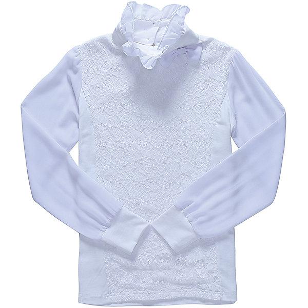 Блузка для девочки LuminosoБлузки и рубашки<br>Характеристики товара:<br><br>• цвет: молочный;<br>• состав: 95% хлопок, 5% эластан;<br>• сезон: демисезон;<br>• особенности: школьная, с кружевом;<br>• застежка: две пуговки на спинке;<br>• длинные рукава из легкого шифона;<br>• воротник-стойка;<br>• декорирована кружевом;<br>• трикотажные манжеты;<br>• страна бренда: Россия;<br>• страна производства: Китай.<br><br>Школьная блузка с длинным рукавом для девочки. Белая блузка застегивается на две пуговицы на спинке. Рукава выполнены из легкого шифона, манжеты трикотажные. Блузка декорирована кружевом в тон изделию, воротник-стойка украшен шифоновым воланом.<br><br>Блузка для девочки Luminoso (Люминосо) можно купить в нашем интернет-магазине.<br><br>Ширина мм: 186<br>Глубина мм: 87<br>Высота мм: 198<br>Вес г: 197<br>Цвет: белый<br>Возраст от месяцев: 72<br>Возраст до месяцев: 84<br>Пол: Женский<br>Возраст: Детский<br>Размер: 122,164,158,152,146,140,134,128<br>SKU: 6673076