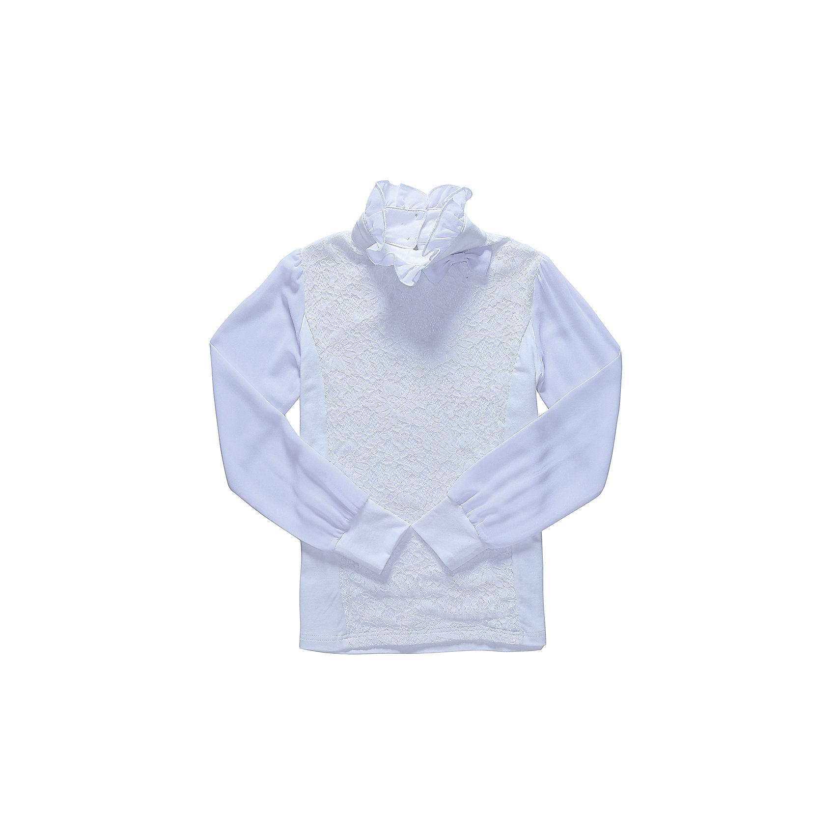 Блузка для девочки LuminosoБлузки и рубашки<br>Характеристики товара:<br><br>• цвет: молочный;<br>• состав: 95% хлопок, 5% эластан;<br>• сезон: демисезон;<br>• особенности: школьная, с кружевом;<br>• застежка: две пуговки на спинке;<br>• длинные рукава из легкого шифона;<br>• воротник-стойка;<br>• декорирована кружевом;<br>• трикотажные манжеты;<br>• страна бренда: Россия;<br>• страна производства: Китай.<br><br>Школьная блузка с длинным рукавом для девочки. Белая блузка застегивается на две пуговицы на спинке. Рукава выполнены из легкого шифона, манжеты трикотажные. Блузка декорирована кружевом в тон изделию, воротник-стойка украшен шифоновым воланом.<br><br>Блузка для девочки Luminoso (Люминосо) можно купить в нашем интернет-магазине.<br><br>Ширина мм: 186<br>Глубина мм: 87<br>Высота мм: 198<br>Вес г: 197<br>Цвет: белый<br>Возраст от месяцев: 72<br>Возраст до месяцев: 84<br>Пол: Женский<br>Возраст: Детский<br>Размер: 122,164,128,134,140,146,152,158<br>SKU: 6673076