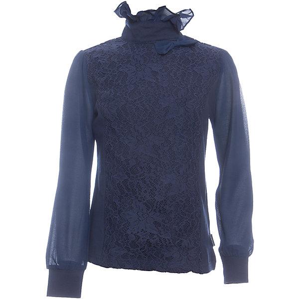 Блузка для девочки LuminosoБлузки и рубашки<br>Характеристики товара:<br><br>• цвет: темно-синий;<br>• состав: 95% хлопок, 5% эластан;<br>• сезон: демисезон;<br>• особенности: школьная, с кружевом;<br>• застежка: две пуговки на спинке;<br>• длинные рукава из легкого шифона;<br>• воротник-стойка;<br>• декорирована кружевом;<br>• трикотажные манжеты;<br>• страна бренда: Россия;<br>• страна производства: Китай.<br><br>Школьная блузка с длинным рукавом для девочки. Темно-синяя блузка застегивается на две пуговицы на спинке. Рукава выполнены из легкого шифона, манжеты трикотажные. Блузка декорирована кружевом в тон изделию, воротник-стойка украшен шифоновым воланом.<br><br>Блузка для девочки Luminoso (Люминосо) можно купить в нашем интернет-магазине.<br><br>Ширина мм: 186<br>Глубина мм: 87<br>Высота мм: 198<br>Вес г: 197<br>Цвет: синий<br>Возраст от месяцев: 144<br>Возраст до месяцев: 156<br>Пол: Женский<br>Возраст: Детский<br>Размер: 158,152,146,140,134,128,122,164<br>SKU: 6673085