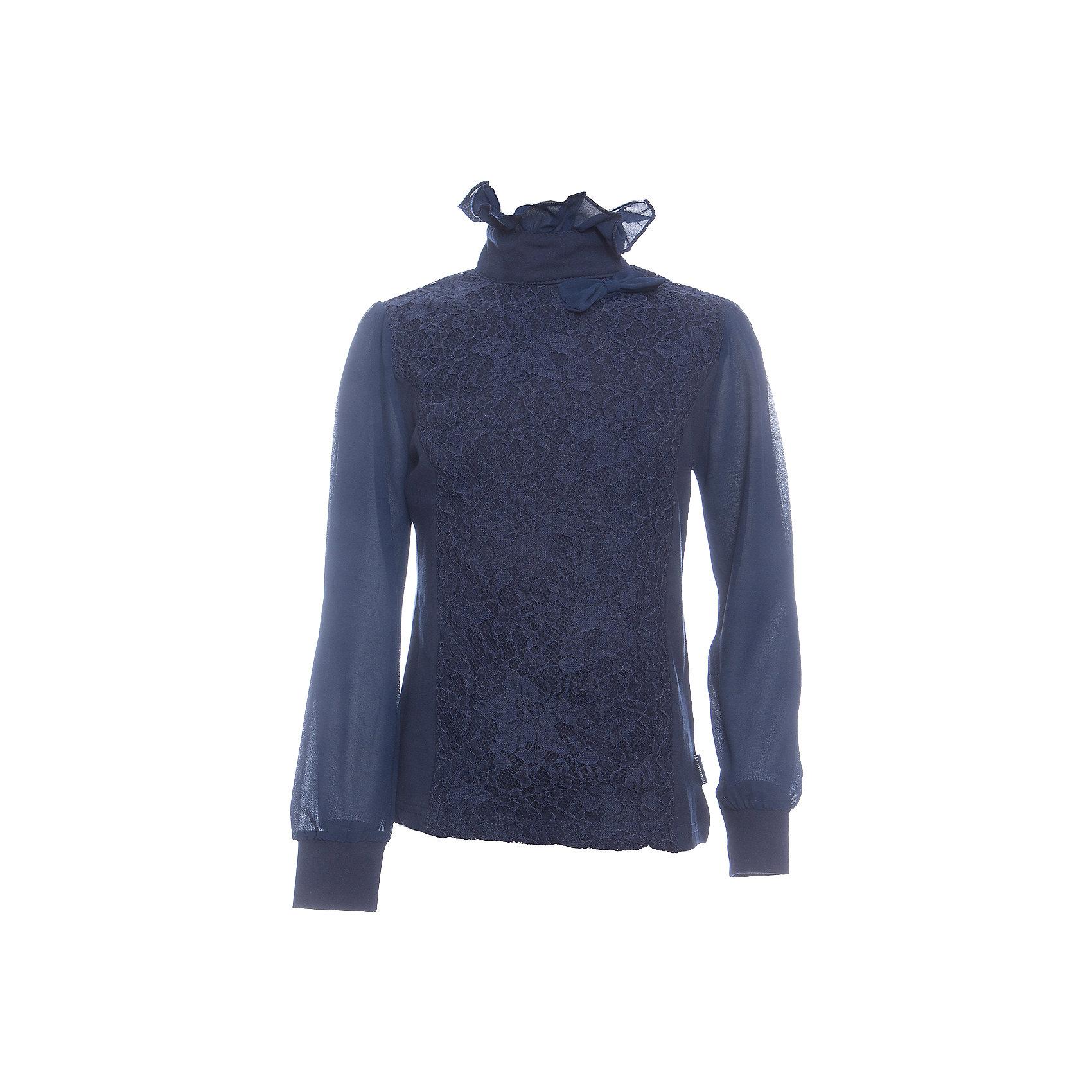 Блузка для девочки LuminosoБлузки и рубашки<br>Характеристики товара:<br><br>• цвет: темно-синий;<br>• состав: 95% хлопок, 5% эластан;<br>• сезон: демисезон;<br>• особенности: школьная, с кружевом;<br>• застежка: две пуговки на спинке;<br>• длинные рукава из легкого шифона;<br>• воротник-стойка;<br>• декорирована кружевом;<br>• трикотажные манжеты;<br>• страна бренда: Россия;<br>• страна производства: Китай.<br><br>Школьная блузка с длинным рукавом для девочки. Темно-синяя блузка застегивается на две пуговицы на спинке. Рукава выполнены из легкого шифона, манжеты трикотажные. Блузка декорирована кружевом в тон изделию, воротник-стойка украшен шифоновым воланом.<br><br>Блузка для девочки Luminoso (Люминосо) можно купить в нашем интернет-магазине.<br><br>Ширина мм: 186<br>Глубина мм: 87<br>Высота мм: 198<br>Вес г: 197<br>Цвет: синий<br>Возраст от месяцев: 156<br>Возраст до месяцев: 168<br>Пол: Женский<br>Возраст: Детский<br>Размер: 164,122,128,134,140,146,152,158<br>SKU: 6673085