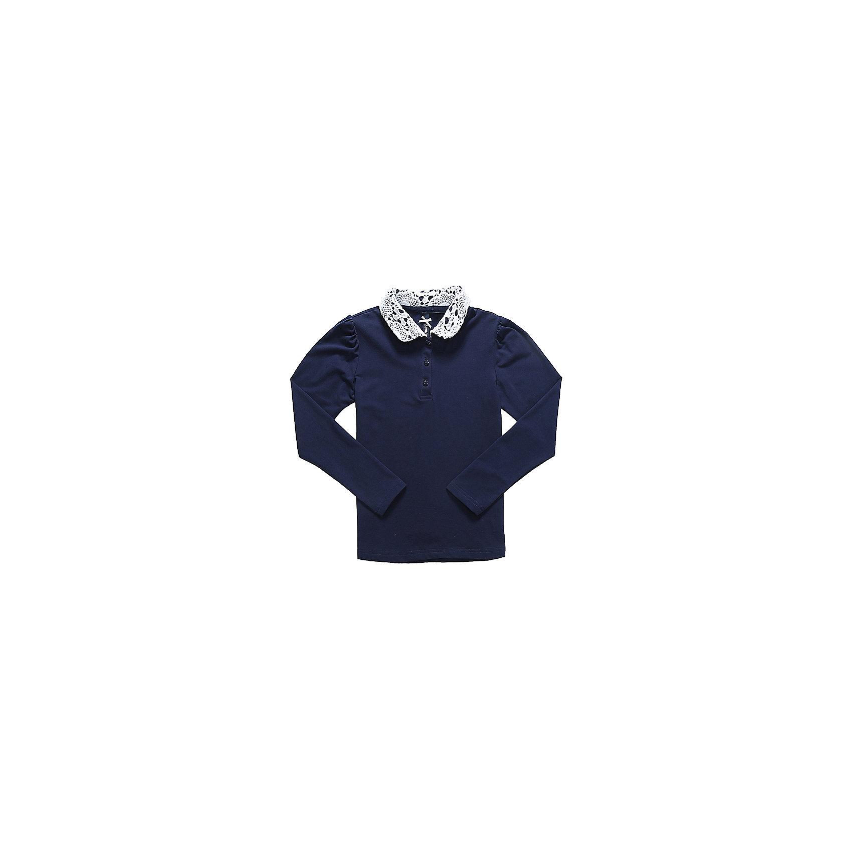Блузка для девочки LuminosoБлузки и рубашки<br>Характеристики товара:<br><br>• цвет: темно-синий;<br>• состав: 95% хлопок, 5% эластан;<br>• сезон: демисезон;<br>• особенности: школьная, с кружевом;<br>• застежка: пуговицы;<br>• с длинным рукавом;<br>• декорирована кружевом;<br>• страна бренда: Россия;<br>• страна производства: Китай.<br><br>Школьная блузка с длинным рукавом для девочки. Темно-синяя блузка застегивается пуговицы. Трикотажная блузка декорирована контрастным кружевом белого цвета на воротнике.<br><br>Блузка для девочки Luminoso (Люминосо) можно купить в нашем интернет-магазине.<br><br>Ширина мм: 186<br>Глубина мм: 87<br>Высота мм: 198<br>Вес г: 197<br>Цвет: синий<br>Возраст от месяцев: 84<br>Возраст до месяцев: 96<br>Пол: Женский<br>Возраст: Детский<br>Размер: 128,164,122,134,140,146,152,158<br>SKU: 6673094