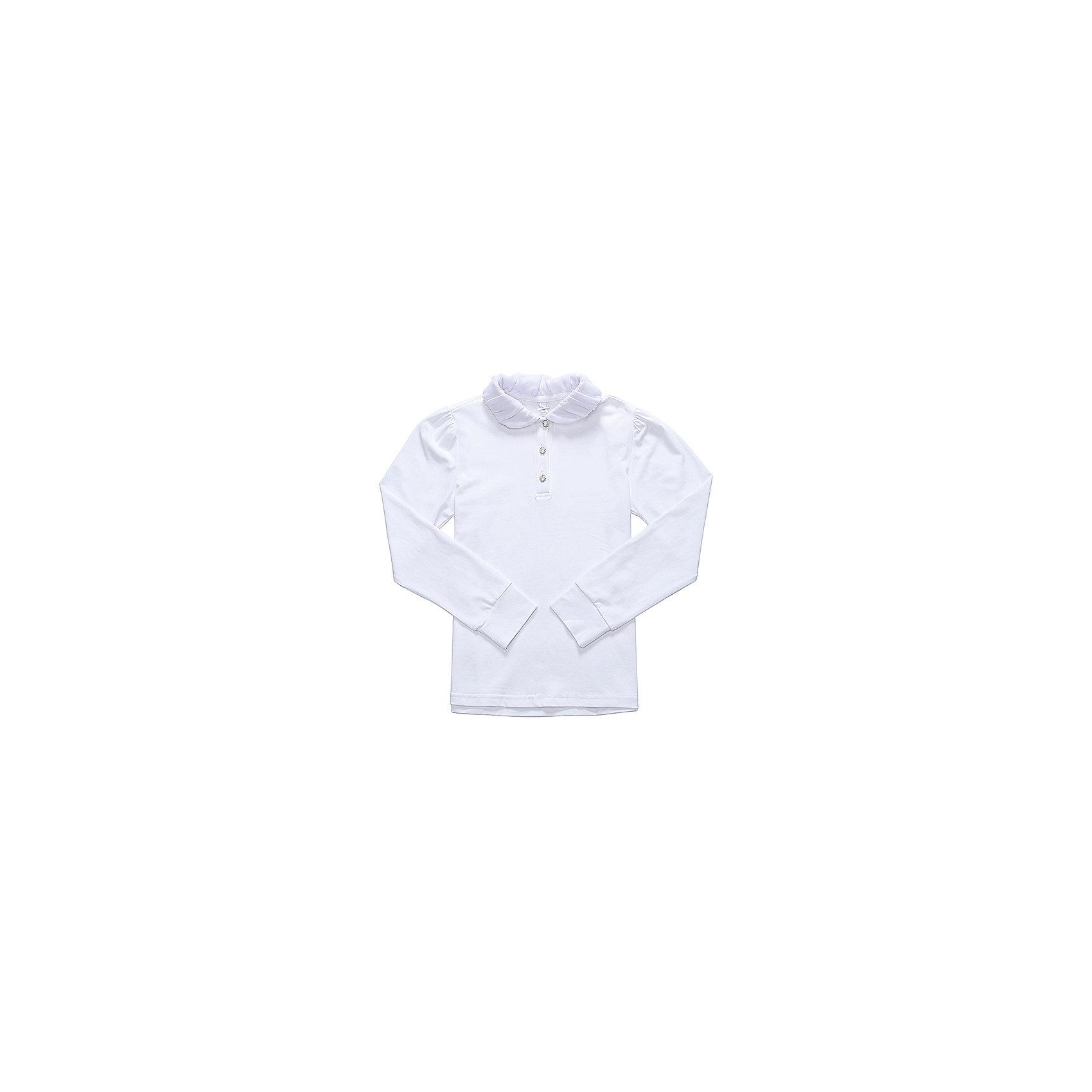 Блузка для девочки LuminosoБлузки и рубашки<br>Характеристики товара:<br><br>• цвет: белый;<br>• состав: 95% хлопок, 5% эластан;<br>• сезон: демисезон;<br>• особенности: школьная, с плиссировкой;<br>• застежка: пуговицы;<br>• с длинным рукавом;<br>• воротник с шифоновой плиссировкой;<br>• страна бренда: Россия;<br>• страна производства: Китай.<br><br>Школьная блузка с длинным рукавом для девочки. Белая блузка застегивается пуговицы. Трикотажная блузка декорирована шифоновой плиссировкой на воротнике. Длинный рукав с мягким манжетом.<br><br>Блузка для девочки Luminoso (Люминосо) можно купить в нашем интернет-магазине.<br><br>Ширина мм: 186<br>Глубина мм: 87<br>Высота мм: 198<br>Вес г: 197<br>Цвет: белый<br>Возраст от месяцев: 72<br>Возраст до месяцев: 84<br>Пол: Женский<br>Возраст: Детский<br>Размер: 146,152,158,122,164,128,134,140<br>SKU: 6673103