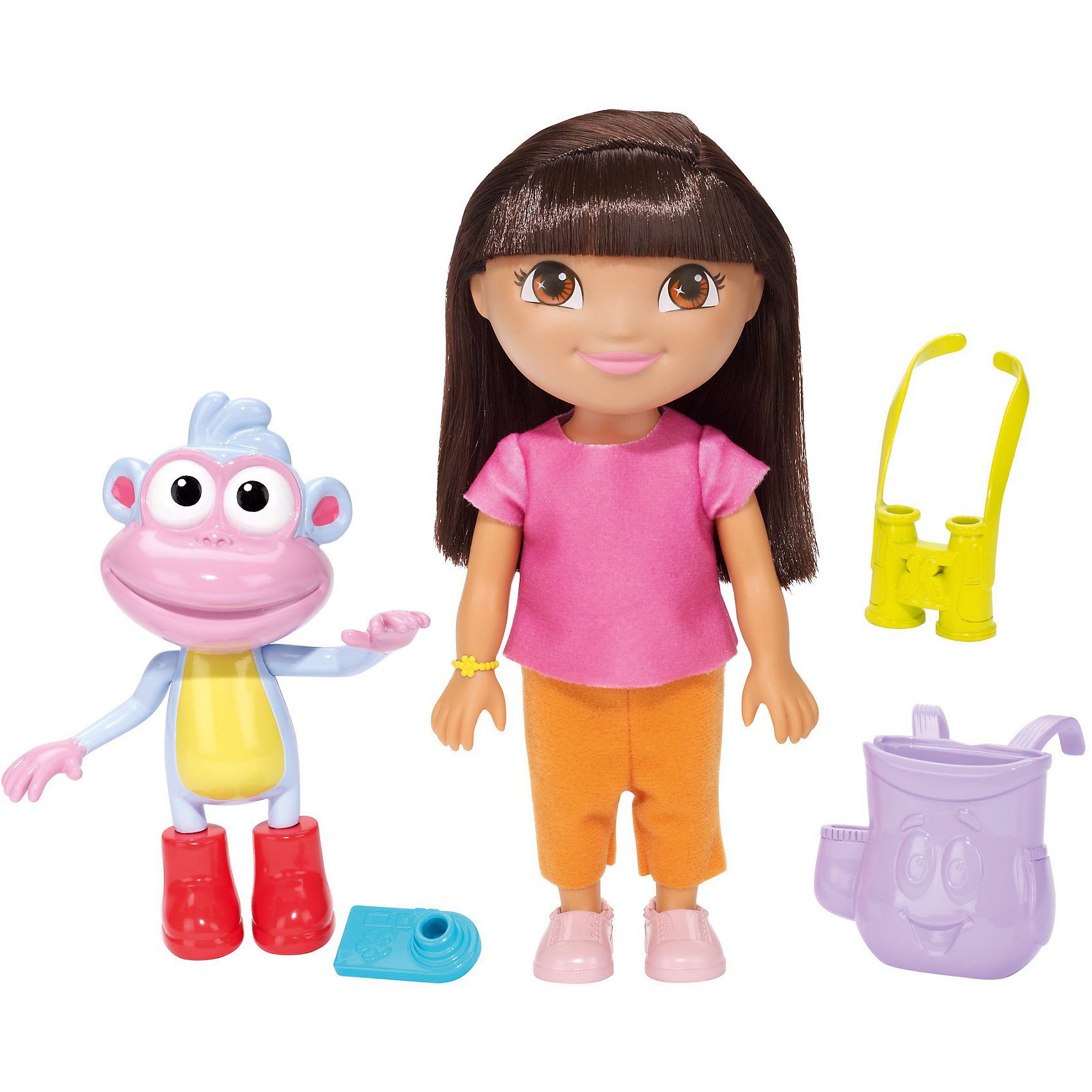 Игровой набор, Fisher Price, Даша-путешественница, Набор с обезьянкой БашмачокКлассические куклы<br>Характеристики товара:<br><br>• возраст от 3 лет;<br>• материал: пластик, текстиль;<br>• в комплекте: кукла, обезьянка, аксессуары;<br>• высота фигурки 20 см;<br>• размер упаковки 28х23х7,5 см;<br>• вес упаковки 467 гр.;<br>• страна производитель: Китай.<br><br>Игровой набор «Даша путешественница» Fisher Price создан по мотивам известного мультсериала про улыбчивую и любопытную Дашу. Даша отправляется в исследовательскую экспедицию вместе со своей обезьянкой. В поход Даша берет с собой фотоаппарат и бинокль, которые помещаются в ее рюкзачке. С куклой девочка сможет придумать захватывающие и увлекательные истории для игр. <br><br>Игровой набор «Даша путешественница» Fisher Price можно приобрести в нашем интернет-магазине.<br><br>Ширина мм: 230<br>Глубина мм: 75<br>Высота мм: 280<br>Вес г: 467<br>Возраст от месяцев: 36<br>Возраст до месяцев: 120<br>Пол: Женский<br>Возраст: Детский<br>SKU: 6673338