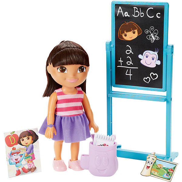 Игровой набор, Fisher Price, Даша-путешественница, Набор с грифельной доскойНаборы с куклой<br>Характеристики товара:<br><br>• возраст от 3 лет;<br>• материал: пластик, текстиль;<br>• в комплекте: кукла, аксессуары;<br>• высота фигурки 20 см;<br>• размер упаковки 28х23х7,5 см;<br>• вес упаковки 467 гр.;<br>• страна производитель: Китай.<br><br>Игровой набор «Даша путешественница» Fisher Price создан по мотивам известного мультсериала про улыбчивую и любопытную Дашу. Даша отправляется в школу, где ей предстоит узнать много нового и интересного. Она берет с собой свой стильный рюкзачок, блокнот и дневник. С куклой девочка сможет придумать захватывающие и увлекательные истории для игр. <br><br>Игровой набор «Даша путешественница» Fisher Price можно приобрести в нашем интернет-магазине.<br>Ширина мм: 230; Глубина мм: 75; Высота мм: 280; Вес г: 467; Возраст от месяцев: 36; Возраст до месяцев: 120; Пол: Женский; Возраст: Детский; SKU: 6673339;