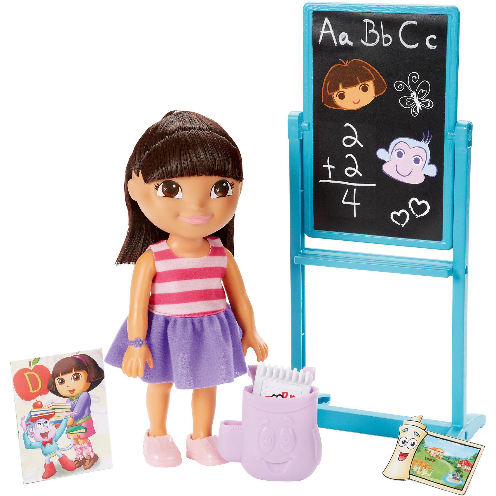 Игровой набор, Fisher Price, Даша-путешественница, Набор с грифельной доскойКлассические куклы<br>Характеристики товара:<br><br>• возраст от 3 лет;<br>• материал: пластик, текстиль;<br>• в комплекте: кукла, аксессуары;<br>• высота фигурки 20 см;<br>• размер упаковки 28х23х7,5 см;<br>• вес упаковки 467 гр.;<br>• страна производитель: Китай.<br><br>Игровой набор «Даша путешественница» Fisher Price создан по мотивам известного мультсериала про улыбчивую и любопытную Дашу. Даша отправляется в школу, где ей предстоит узнать много нового и интересного. Она берет с собой свой стильный рюкзачок, блокнот и дневник. С куклой девочка сможет придумать захватывающие и увлекательные истории для игр. <br><br>Игровой набор «Даша путешественница» Fisher Price можно приобрести в нашем интернет-магазине.<br><br>Ширина мм: 230<br>Глубина мм: 75<br>Высота мм: 280<br>Вес г: 467<br>Возраст от месяцев: 36<br>Возраст до месяцев: 120<br>Пол: Женский<br>Возраст: Детский<br>SKU: 6673339