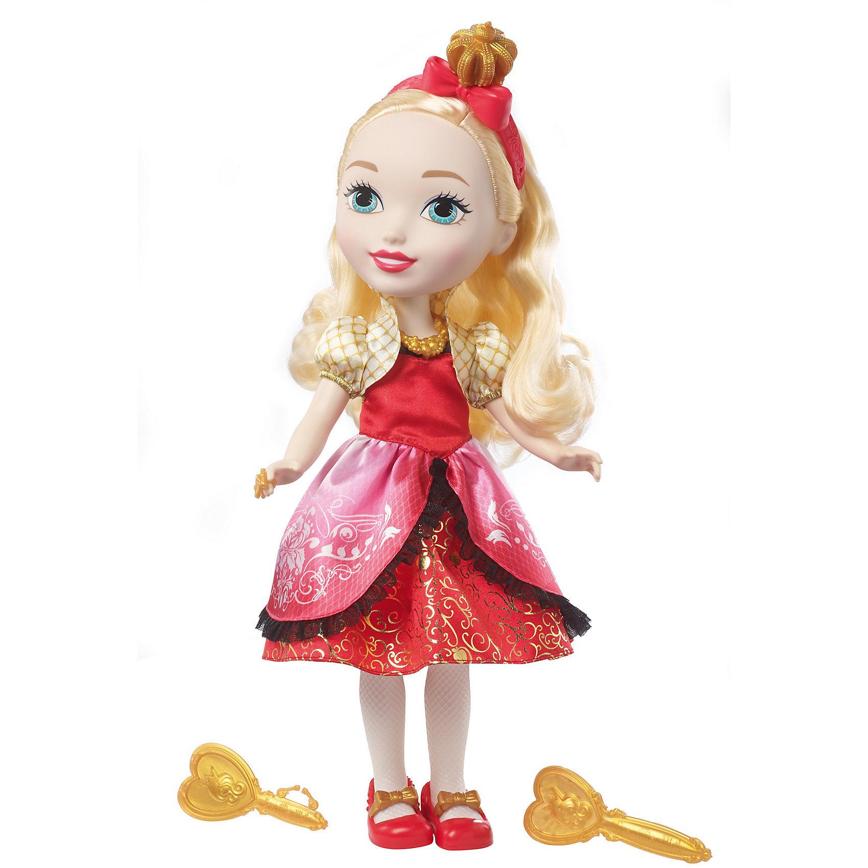 Большая  кукла принцесса Эппл Уайт, Ever After HighКуклы-модели<br>Характеристики товара:<br><br>• возраст от 6 лет;<br>• материал: пластик, текстиль;<br>• в комплекте: кукла, аксессуары;<br>• высота куклы 38 см;<br>• размер упаковки 38х20,5х11 см;<br>• вес упаковки 734 гр.;<br>• страна производитель: Индонезия.<br><br>Большая кукла принцесса Эппл Уайт Ever After High — героиня известного мультсериала. Эппл Уайт — дочка Белоснежки, она одета в красное платье и туфельки, а голову украшает ободок с бантиком. У Эппл вьющиеся светлые волосы, которые можно расчесывать, заплетать и украшать. В наборе зеркальце и расческа для маленькой принцессы. <br><br>Большую куклу принцессу Эппл Уайт Ever After High можно приобрести в нашем интернет-магазине.<br><br>Ширина мм: 205<br>Глубина мм: 110<br>Высота мм: 380<br>Вес г: 734<br>Возраст от месяцев: 36<br>Возраст до месяцев: 120<br>Пол: Женский<br>Возраст: Детский<br>SKU: 6673370