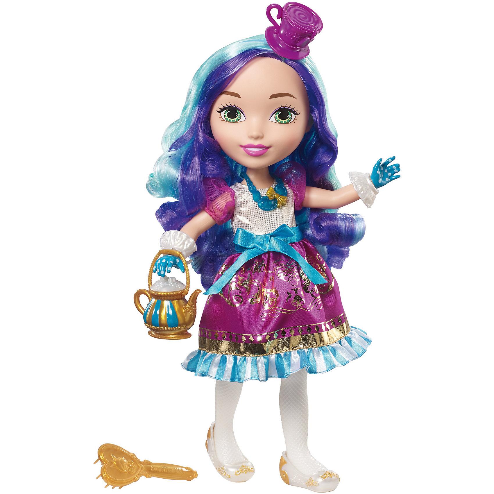 Большая  кукла принцесса Мэдлин Хэттер, Ever After HighКуклы-модели<br>Характеристики товара:<br><br>• возраст от 6 лет;<br>• материал: пластик, текстиль;<br>• в комплекте: кукла, аксессуары;<br>• высота куклы 38 см;<br>• размер упаковки 38х20,5х11 см;<br>• вес упаковки 734 гр.;<br>• страна производитель: Индонезия.<br><br>Большая кукла принцесса Мэдлин Хэттер Ever After High — героиня известного мультсериала, которая из своей шляпки умеет извлекать чайный сервиз, чтобы напоить друзей чаем. Она одета в фиолетовое переливающееся платье, туфельки и голубые перчатки, на голове у нее шляпка, а в руках чайник. Дополняет стильный образ ожерелье на шее. У Мэдлин вьющиеся синие волосы, которые можно расчесывать, заплетать и украшать. <br><br>Большую куклу принцессу Мэдлин Хэттер Ever After High можно приобрести в нашем интернет-магазине.<br><br>Ширина мм: 205<br>Глубина мм: 110<br>Высота мм: 380<br>Вес г: 734<br>Возраст от месяцев: 36<br>Возраст до месяцев: 120<br>Пол: Женский<br>Возраст: Детский<br>SKU: 6673371