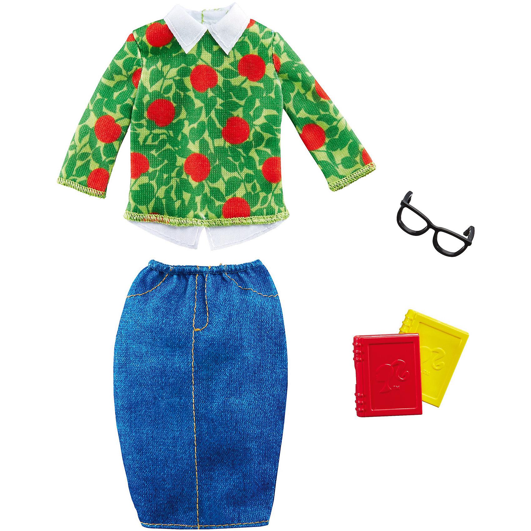 Наряд для Барби Профессии. Учитель, BarbieКукольная одежда и аксессуары<br>Характеристики товара:<br><br>• возраст от 3 лет;<br>• материал: пластик, текстиль;<br>• в комплекте: наряд, аксессуары;<br>• размер упаковки 25,5х11,5х1,5 см;<br>• вес упаковки 89 гр.;<br>• страна производитель: Китай.<br><br>Наряд для Барби «Профессии. Учитель» Barbie дополнит гардероб любимой куколки Барби. Он создаст ей образ учительницы. Наряд состоит из джинсовой юбки и кофты с цветочным принтом и дополнен очками, книгой, папкой. Наряд подходит для всех кукол Барби и изготовлен из качественных материалов.<br><br>Наряд для Барби «Профессии. Учитель» Barbie можно приобрести в нашем интернет-магазине.<br><br>Ширина мм: 115<br>Глубина мм: 15<br>Высота мм: 255<br>Вес г: 89<br>Возраст от месяцев: 36<br>Возраст до месяцев: 120<br>Пол: Женский<br>Возраст: Детский<br>SKU: 6673372
