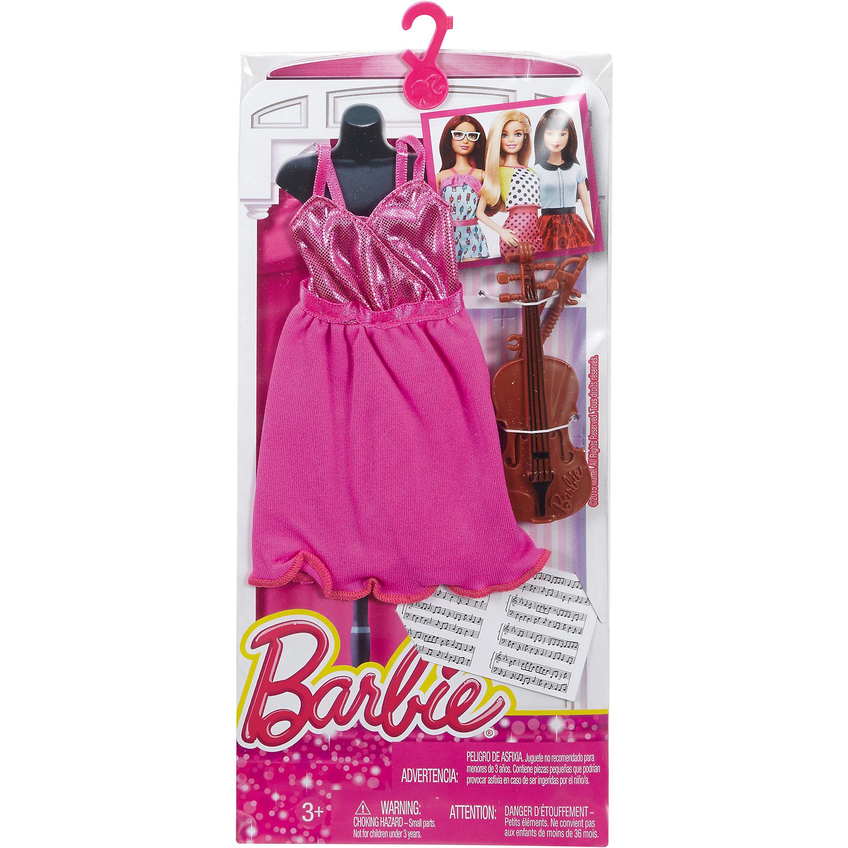 Наряд для Барби Профессии. Музыкант, BarbieКукольная одежда и аксессуары<br>Характеристики товара:<br><br>• возраст от 3 лет;<br>• материал: пластик, текстиль;<br>• в комплекте: наряд, аксессуары;<br>• размер упаковки 25,5х11,5х1,5 см;<br>• вес упаковки 89 гр.;<br>• страна производитель: Китай.<br><br>Наряд для Барби «Профессии. Музыкант» Barbie дополнит гардероб любимой куколки Барби. Он создаст ей образ музыканта. Наряд состоит из розового платья и дополнен скрипкой и нотами. Наряд подходит для всех кукол Барби и изготовлен из качественных материалов.<br><br>Наряд для Барби «Профессии. Музыкант» Barbie можно приобрести в нашем интернет-магазине.<br><br>Ширина мм: 115<br>Глубина мм: 15<br>Высота мм: 255<br>Вес г: 89<br>Возраст от месяцев: 36<br>Возраст до месяцев: 120<br>Пол: Женский<br>Возраст: Детский<br>SKU: 6673374