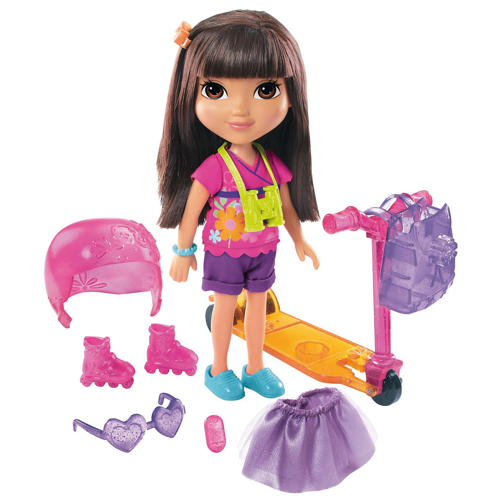 Кукла Даша-путешественница с аксессуарами, Fisher PriceКлассические куклы<br>Характеристики товара:<br><br>• возраст от 3 лет;<br>• материал: пластик, текстиль;<br>• в комплекте: кукла, аксессуары;<br>• высота куклы 20 см;<br>• размер упаковки 28х24х7 см;<br>• вес упаковки 436 гр.;<br>• страна производитель: Китай.<br><br>Кукла Даша-путешественница с аксессуарами Fisher Price — героиня известного мультсериала про улыбчивую и любопытную Дашу, которая любит путешествовать и постоянно что-то исследовать и узнавать. У Даши большие глаза и мягкие темные волосы, которые можно расчесывать, заплетать и украшать. В комплекте аксессуары, с которыми Даша может активно провести прогулку: самокат, ролики, защитный шлем. Она обязательно берет с собой свой рюкзачок и фотоаппарат, чтобы запечатлеть самые яркие моменты. Во время увлекательной игры с куклой девочка может придумывать свои истории и сюжеты.<br><br>Куклу Дашу-путешественницу с аксессуарами Fisher Price можно приобрести в нашем интернет-магазине.<br><br>Ширина мм: 240<br>Глубина мм: 70<br>Высота мм: 280<br>Вес г: 436<br>Возраст от месяцев: 36<br>Возраст до месяцев: 120<br>Пол: Женский<br>Возраст: Детский<br>SKU: 6673383