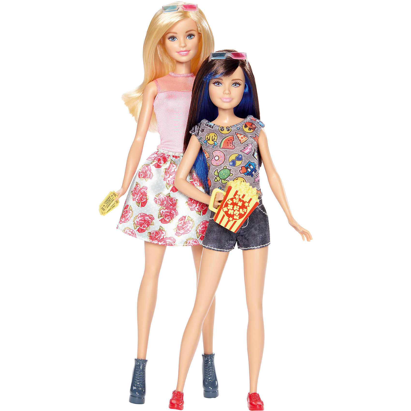 Набор кукол Скиппер и Стейси, BarbieКуклы-модели<br>Характеристики товара:<br><br>• возраст от 3 лет;<br>• материал: пластик, текстиль;<br>• в комплекте: 2 куклы, аксессуары;<br>• высота кукол 28 и 21 см;<br>• размер упаковки 32,5х20,5х6 см;<br>• вес упаковки 500 гр.;<br>• страна производитель: Китай.<br><br>Набор кукол Барби и Скиппер Barbie — набор из 2 очаровательных сестренок, которые отправились в кино за захватывающий фильм. Барби одета в платье с цветочным принтом, а Скиппер в джинсовые шорты и маечку. У кукол длинные мягкие волосы, которые можно расчесывать, заплетать и украшать. Девочка может брать куколок с собой на прогулку, в гости к подружке и придумывать интересные сюжеты для игры.<br><br>Набор кукол Барби и Скиппер Barbie можно приобрести в нашем интернет-магазине.<br><br>Ширина мм: 205<br>Глубина мм: 60<br>Высота мм: 325<br>Вес г: 500<br>Возраст от месяцев: 36<br>Возраст до месяцев: 120<br>Пол: Женский<br>Возраст: Детский<br>SKU: 6673386