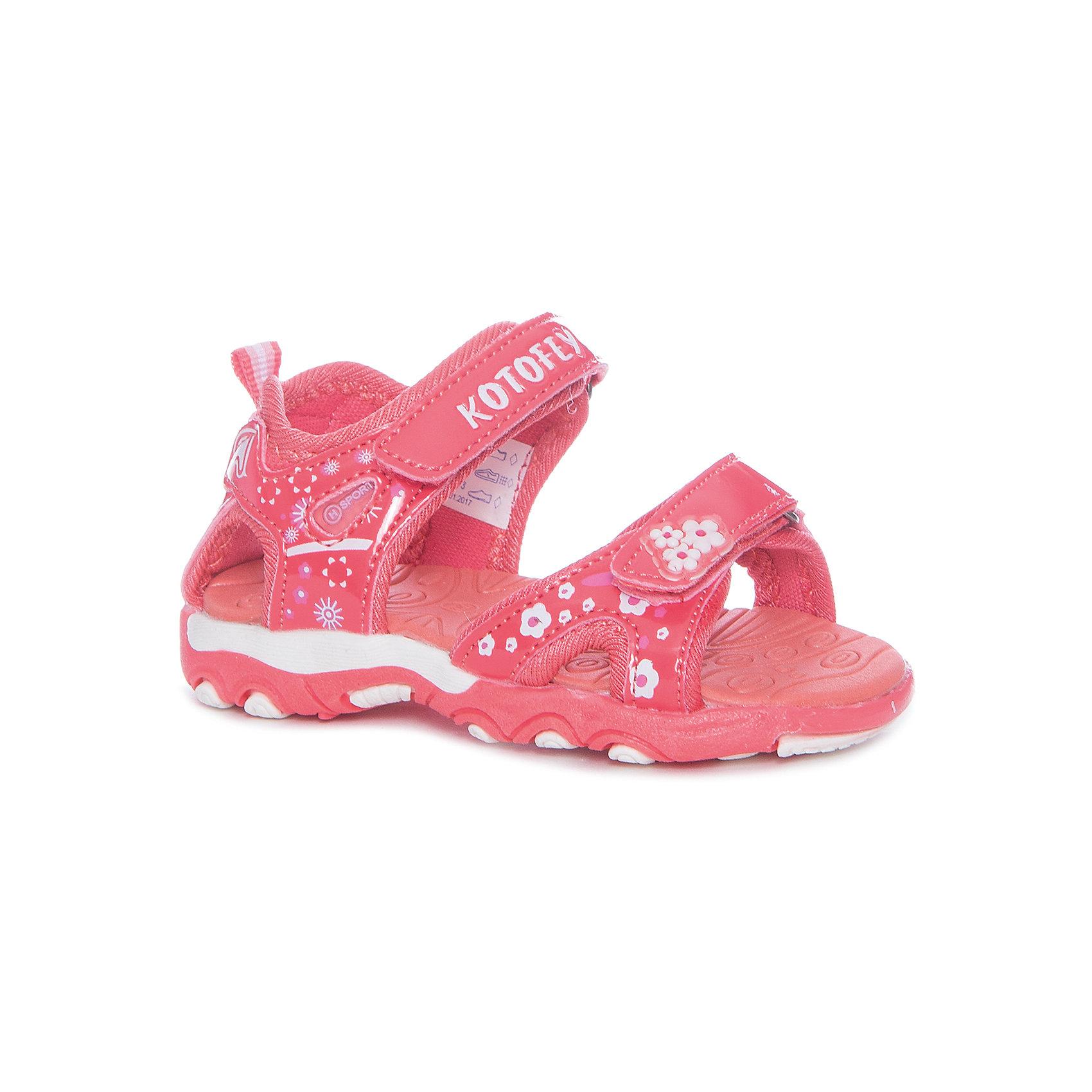 Сандалии для девочки КотофейПляжная обувь<br>Сандалии для девочки Котофей<br>Самая летняя и очень легкая обувь! Сандалии имеют небольшой мягкий задник и открытый нос. Украшены стильными контрастными цветами, строчками и декоративными элементами. Выполнены из износостойкой и надёжной искусственной кожи. Подошва этой модели анатомическая, учитывает особенности стопы, выполнена из термоэластопласта, с текстильным материалом подкладки. Две удобные \липучки\, максимально комфортно и быстро регулируют обувь на ноге. Эти сандалии прекрасно подойдут для походов в бассейн или на пляж в жаркие летние дни!<br>Материал верха<br>    3 Искусственная кожа<br><br>Материал подклада<br>    1 Текстильная<br><br>Материал подошвы<br>    ТЭП<br><br>Ширина мм: 219<br>Глубина мм: 154<br>Высота мм: 121<br>Вес г: 343<br>Цвет: розовый<br>Возраст от месяцев: 21<br>Возраст до месяцев: 24<br>Пол: Женский<br>Возраст: Детский<br>Размер: 24,22,23<br>SKU: 6673494