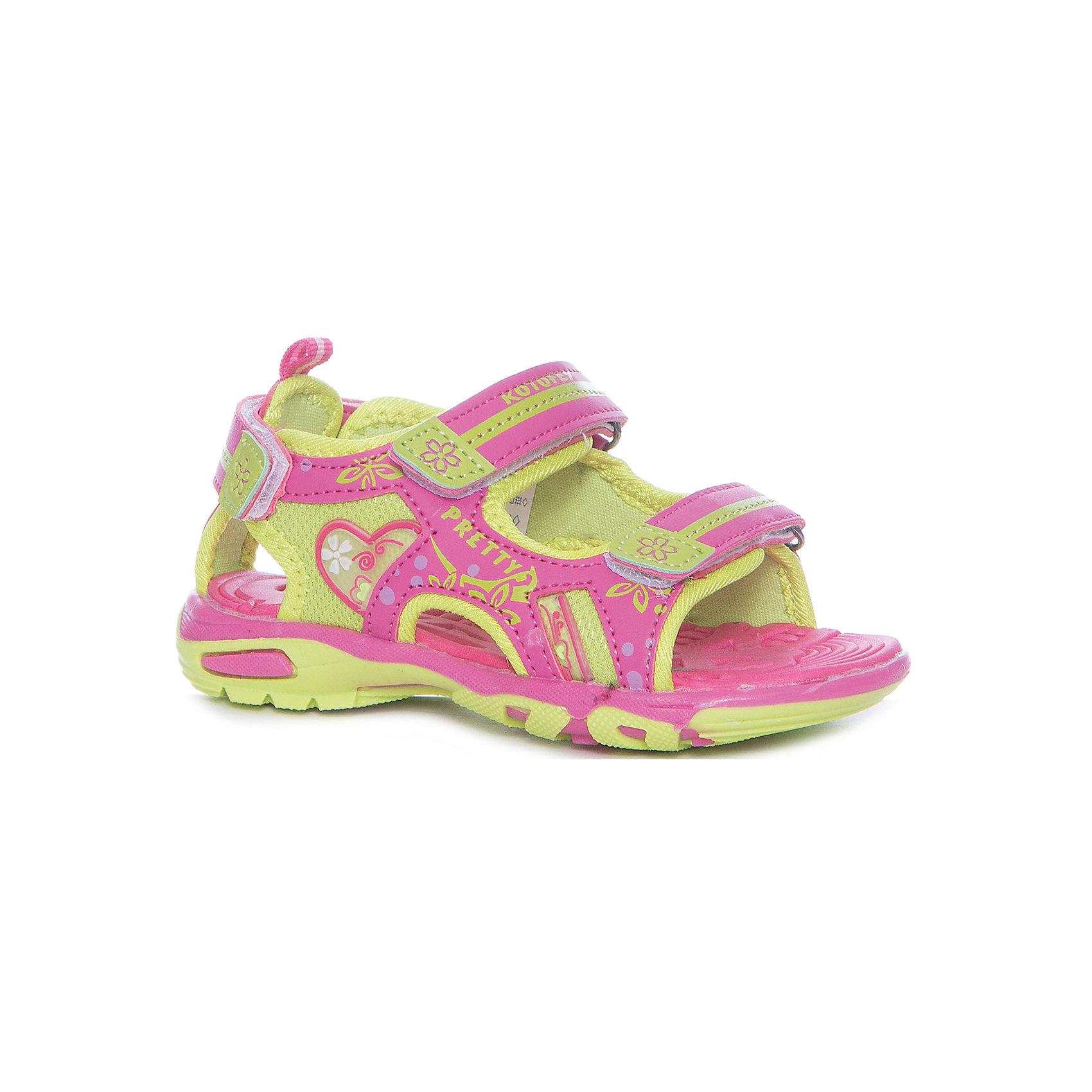 Сандалии для девочки КотофейПляжная обувь<br>Сандалии для девочки Котофей<br>Самая летняя и очень легкая обувь! Сандалии имеют небольшой мягкий задник и открытый нос. Украшены стильными контрастными цветами, строчками и декоративными элементами. Выполнены из износостойкой и надёжной искусственной кожи. Подошва этой модели анатомическая, учитывает особенности стопы, выполнена из термоэластопласта, с текстильным материалом подкладки. Две удобные \липучки\, максимально комфортно и быстро регулируют обувь на ноге. Эти сандалии прекрасно подойдут для походов в бассейн или на пляж в жаркие летние дни!<br>Материал верха<br>    3 Искусственная кожа<br><br>Материал подклада<br>    1 Текстильная<br><br>Материал подошвы<br>    ТЭП<br><br>Ширина мм: 219<br>Глубина мм: 154<br>Высота мм: 121<br>Вес г: 343<br>Цвет: розовый<br>Возраст от месяцев: 60<br>Возраст до месяцев: 72<br>Пол: Женский<br>Возраст: Детский<br>Размер: 29,25,26,27,28<br>SKU: 6673502