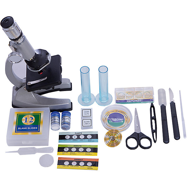 Набор Юный натуралист, 47 предм., мет., цвет серебристыйМикроскопы<br>Характеристики:<br><br>• возраст: от 8 лет<br>• комплектация: микроскоп, 3 объектива, покрывные стекла, готовые слайды, пустые слайды, морская соль, пустые пробирки, скальпель, шпатель, пинцет, линза, ножницы, клеящее вещество, эозиновый краситель, эпсомит<br>• высота микроскопа: 23 см.<br>• батарейки: 2 х АА / LR6 1.5V (пальчиковые)<br>• наличие батареек: не входят в комплект<br>• материал: пластик, металл, стекло<br>• упаковка: картонная коробка<br>• размер упаковки: 33,5х33,5х8,5 см.<br><br>Набор «Юный натуралист» содержит микроскоп и 46 предметов и аксессуаров, с помощью которых можно изучать и наблюдать удивительный микромир.<br><br>Окуляр микроскопа имеет увеличение 10х и 20х. В наборе есть три объектива. Мощность увеличения самого маленького равна 5х, самого большого - 60х. Если настроить окуляр на максимальную степень увеличения и выбрать самый большой объектив, то объект под микроскопом будет увеличен в 1200 раз. Микромир будет виден как на ладони.<br><br>Благодаря прорезиненному основанию микроскоп будет прочно стоять на поверхности.<br><br>Набор Юный натуралист, 47 предм., мет., цвет серебристый можно купить в нашем интернет-магазине.<br><br>Ширина мм: 335<br>Глубина мм: 335<br>Высота мм: 85<br>Вес г: 1300<br>Возраст от месяцев: 96<br>Возраст до месяцев: 2147483647<br>Пол: Унисекс<br>Возраст: Детский<br>SKU: 6674611