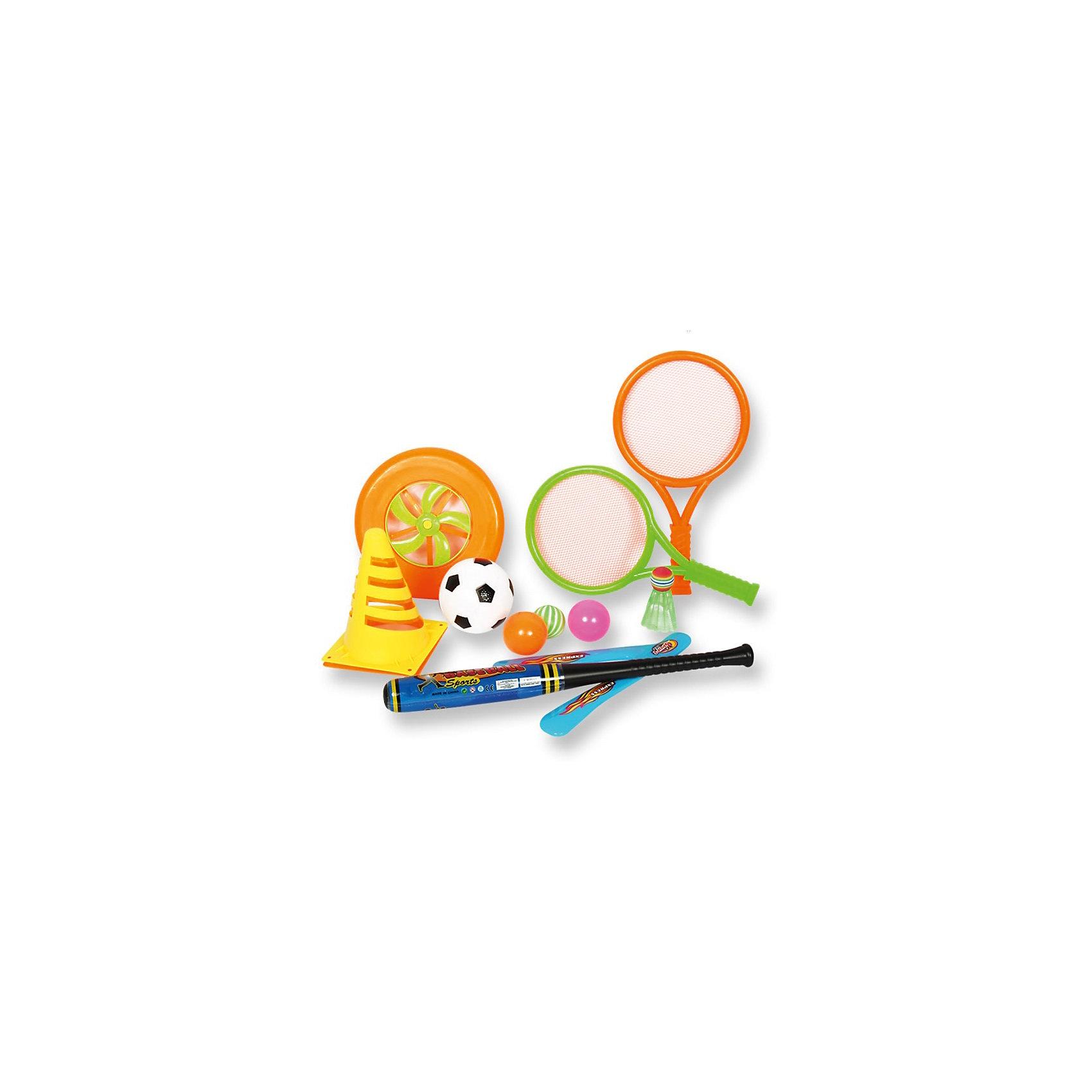 Игровой набор для детей 4 в 1, 11 предметов в сумке,YG SportИгровые наборы<br>Характеристики товара:<br><br>• материал: пластик<br>• возраст ребёнка: от 3 лет<br>• диаметр диска: 20 см<br>• длина биты: 47 см<br>• длина ракетки: 36 см<br>• размеры упаковки: 24х14х45 см<br><br>Игровой набор для активный игр 4 в 1 можно взять с собой на отдых, играть в парке или в скверах, на пляжной зоне, во дворе на игровой площадке.<br><br>Игры рассчитаны на развитие ловкости, скорости и координации движений, а также помогает в укреплении общефизического состояния детей. Все составляющие выполнены из высококачественного и прочного материала, не содержащего в составе токсичных красителей.<br><br>В комплекте: <br>• футбольный мяч, <br>• волан, <br>• бейсбольную бита, <br>• 2 ракетки, <br>• 2 мяча, <br>• 2 диска, <br>• 2 конуса.<br><br>Ширина мм: 240<br>Глубина мм: 140<br>Высота мм: 450<br>Вес г: 346<br>Возраст от месяцев: 36<br>Возраст до месяцев: 72<br>Пол: Унисекс<br>Возраст: Детский<br>SKU: 6674852